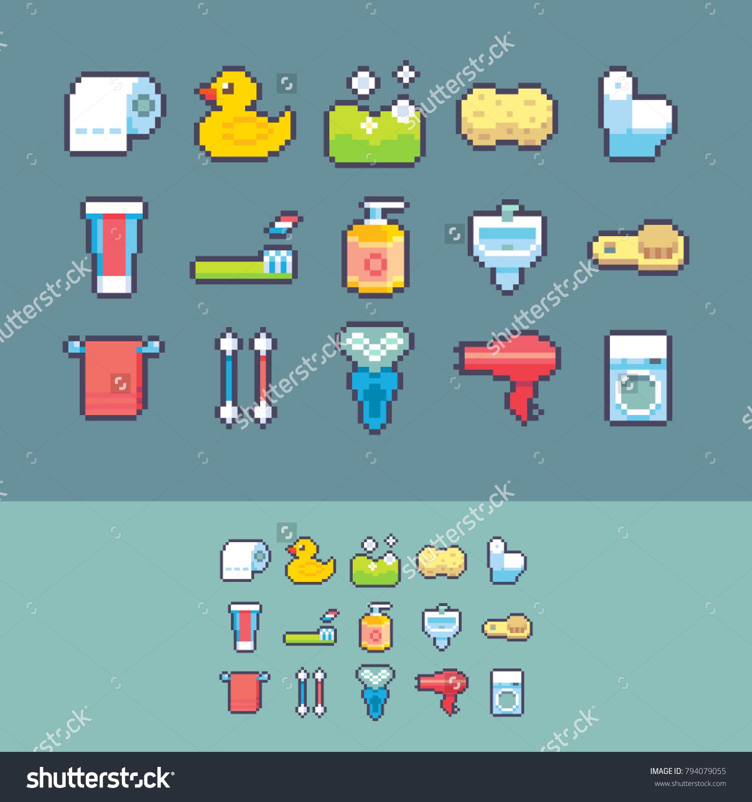 Pixel Art Vector Bathroom Supplies Icons Stock Vector 794079055 ...