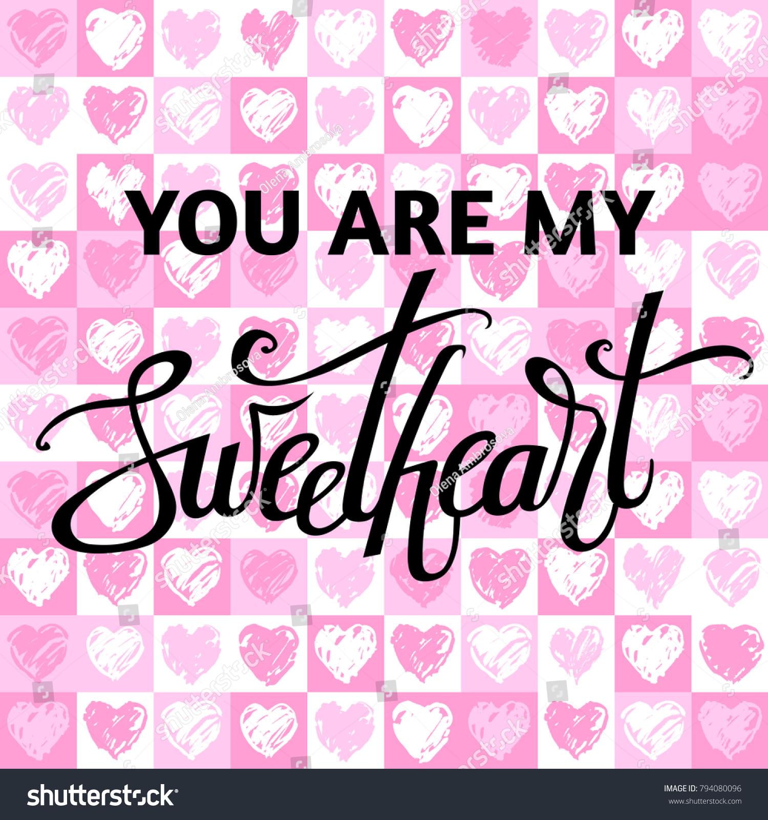 Vector Image Valentines Day Sweetheart Lettering Stock-Vektorgrafik ...