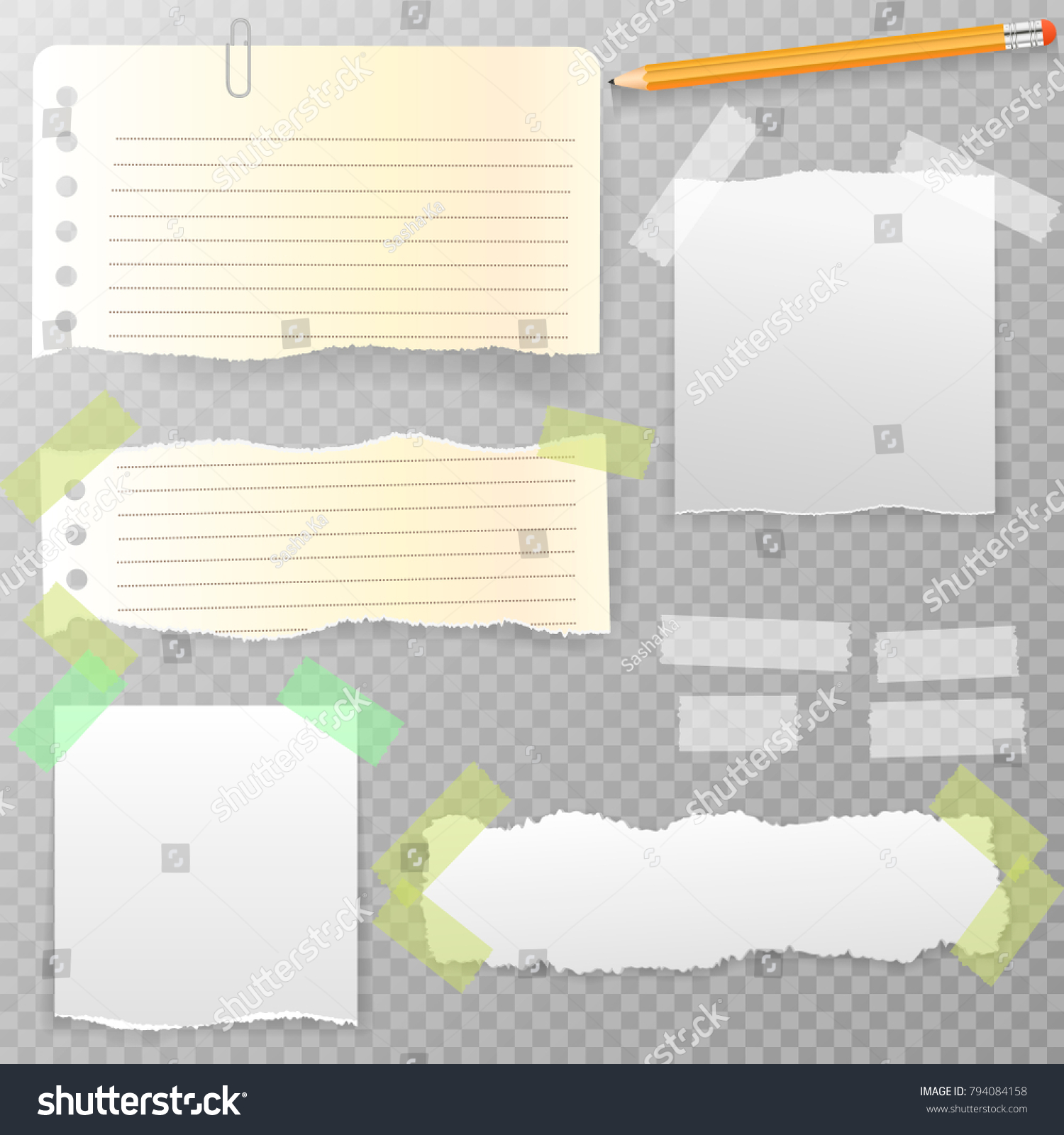 torn horizontal note notebook copybook paper stock vector (royalty