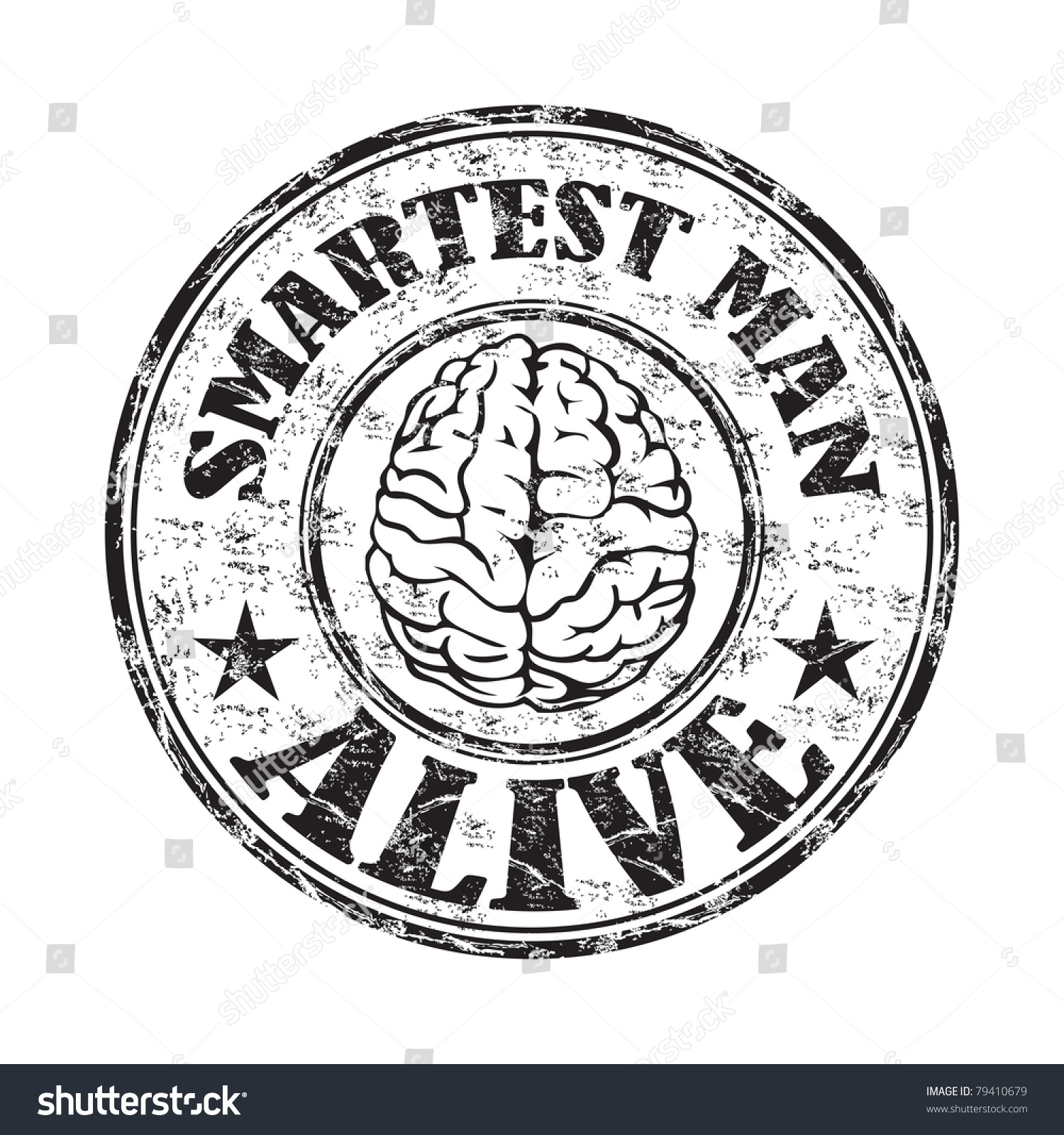 Black grunge rubber stamp brain symbol stock vector 79410679 black grunge rubber stamp with a brain symbol and the text smartest man alive written inside biocorpaavc Images