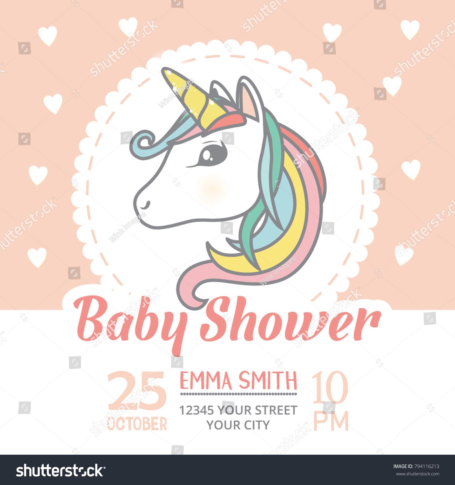 Baby Shower Invitation Card Template Cute Vector De Stock Libre De