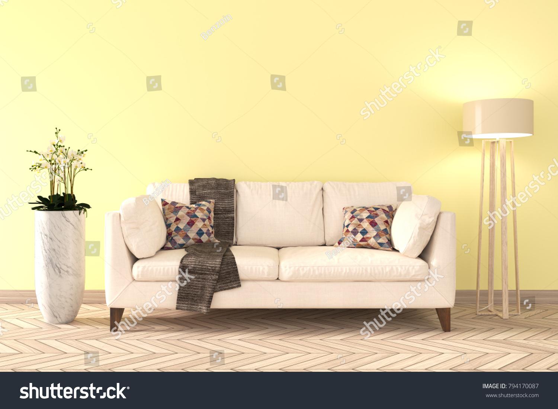 Minimal Yellow Living Room Interior White Stock Illustration ...
