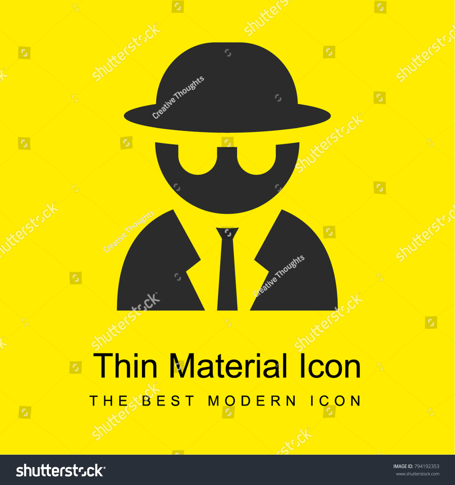 9375526e secret agent bright yellow material minimal icon or logo design - Vector