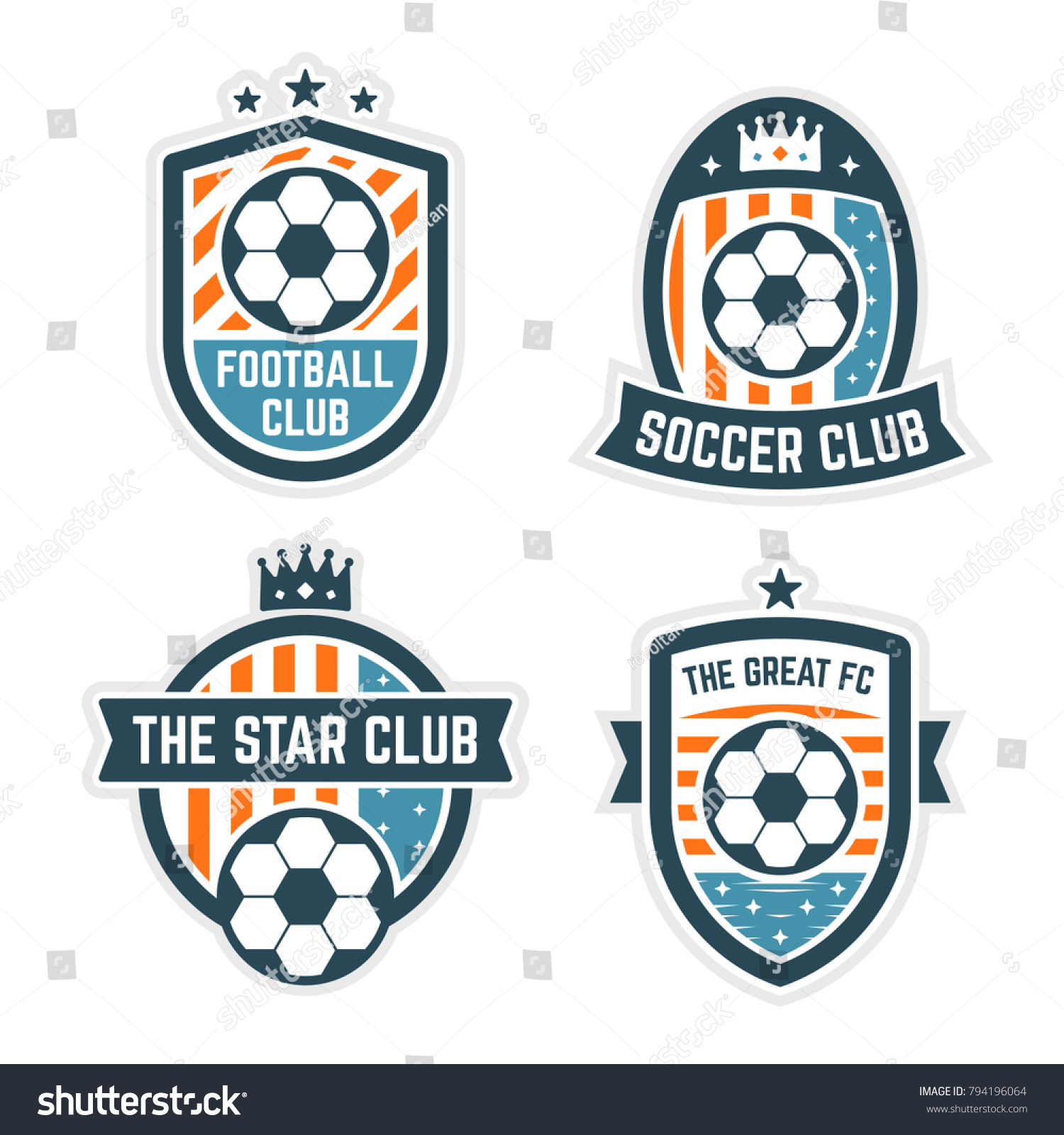 soccer football club logo badge set stock vector royalty free
