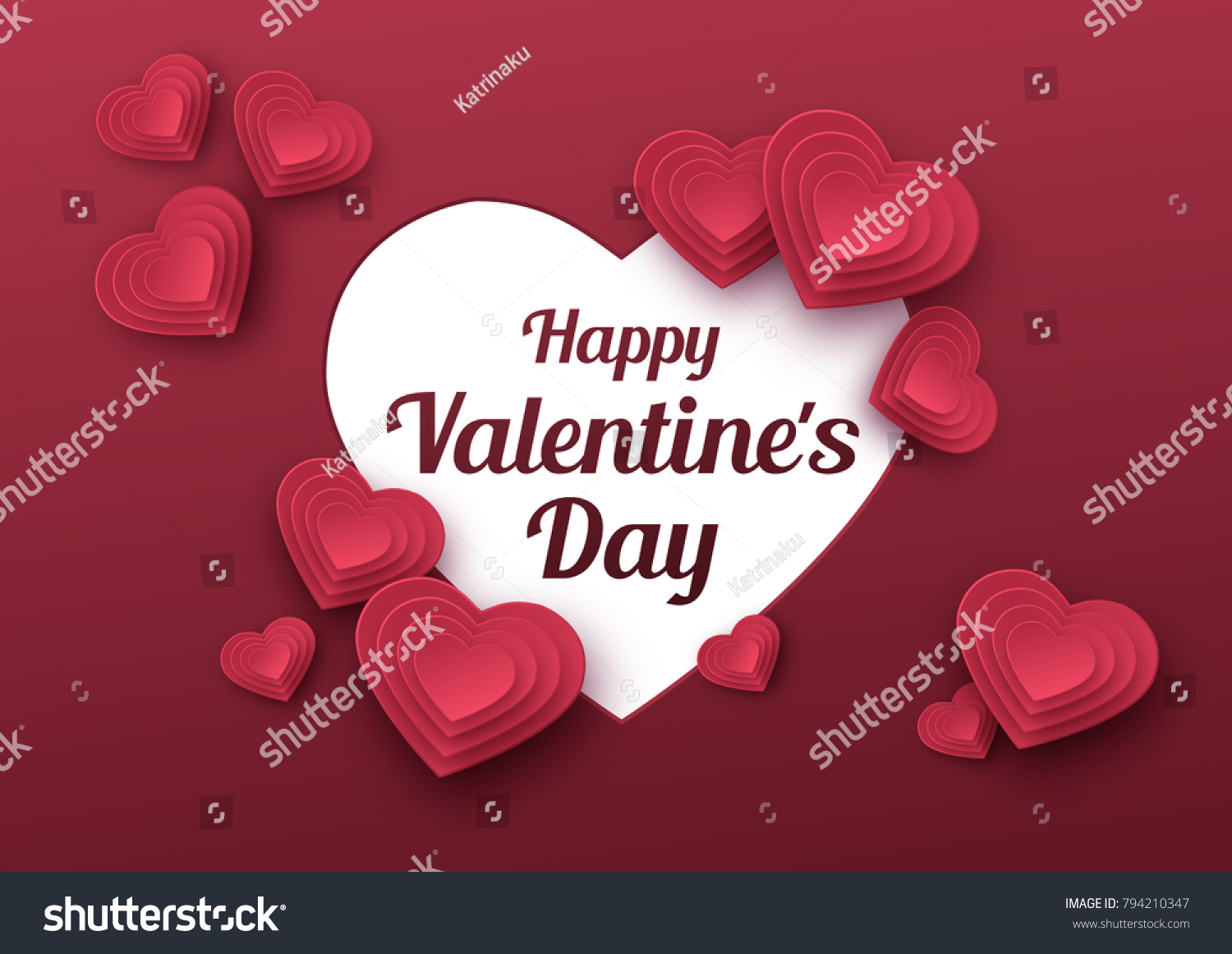 Happy valentines day greeting card paper stock vector 794210347 happy valentines day greeting card paper art love and wedding red paper hearts kristyandbryce Image collections