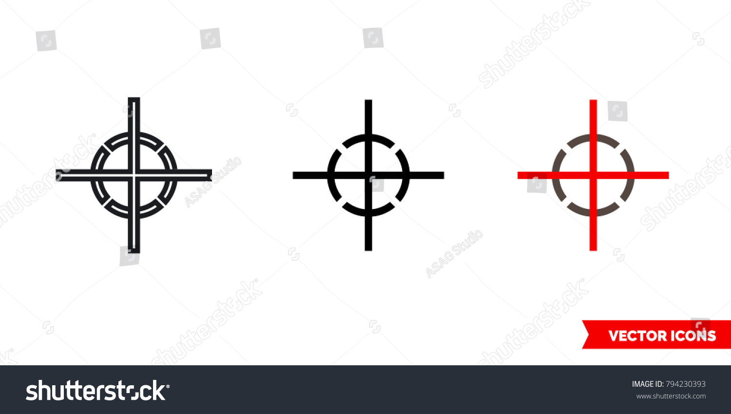 Center Gravity Icon 3 Types Color Stock Vector Royalty Free