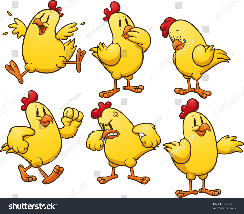 cute cartoon yellow chicken vector illustration stock