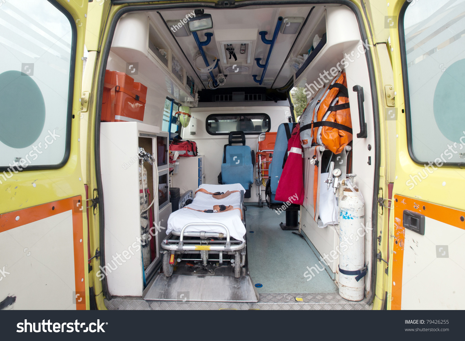 Inside Very Used Greek Ambulance Stock Photo 79426255 ...