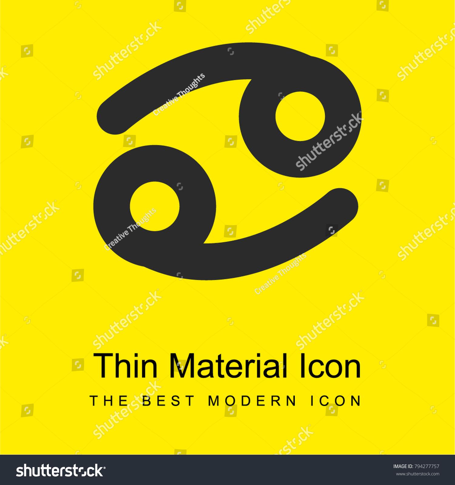 Cancer Zodiac Sign Symbol Bright Yellow Stock Vector Royalty Free