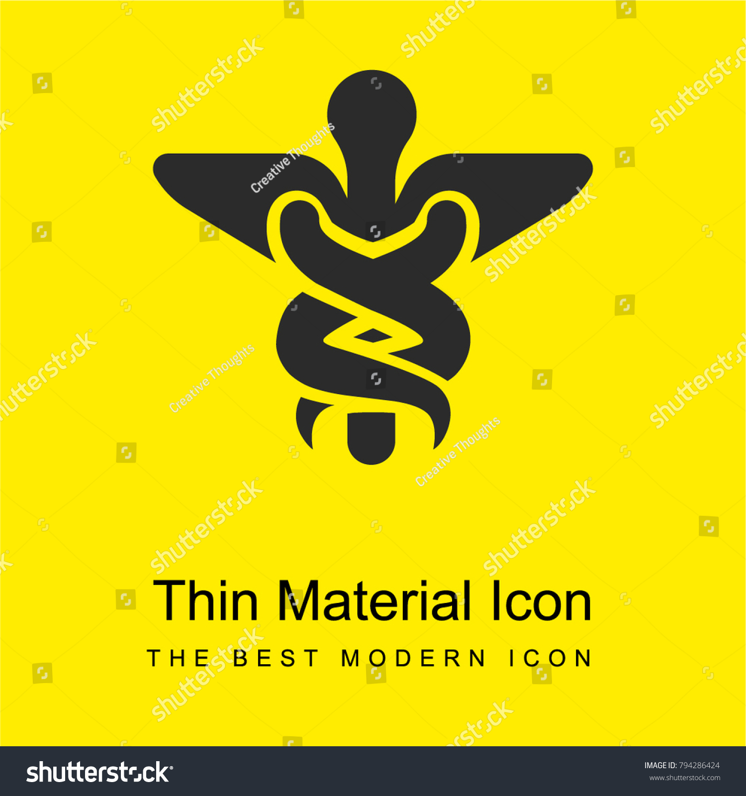 Caduceus medical symbol two ascending serpents stock vector caduceus medical symbol of two ascending serpents on a cane with wings bright yellow material minimal buycottarizona Image collections