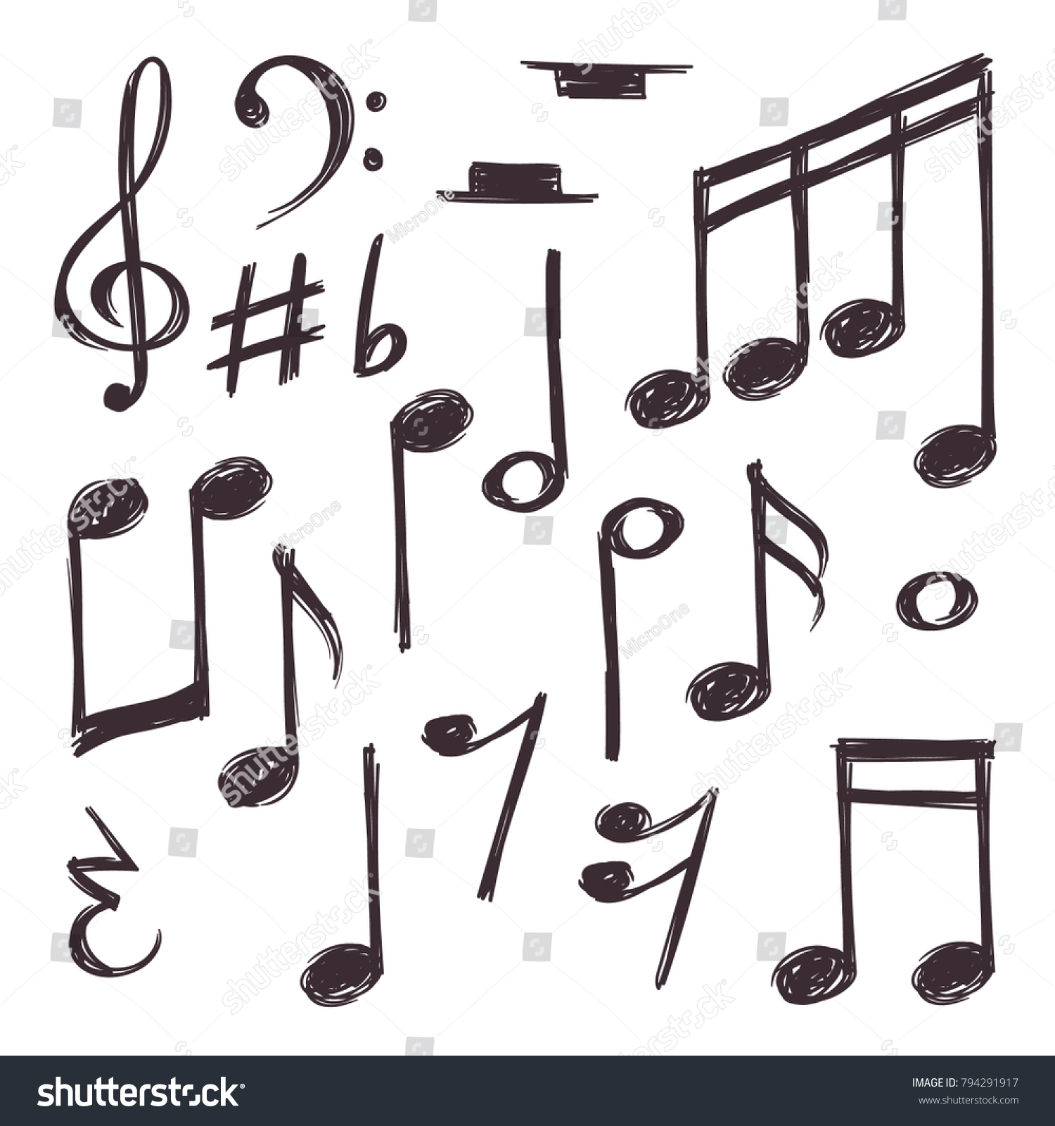 Hand Drawn Music Note Vector Musical Symbols Isolated On White