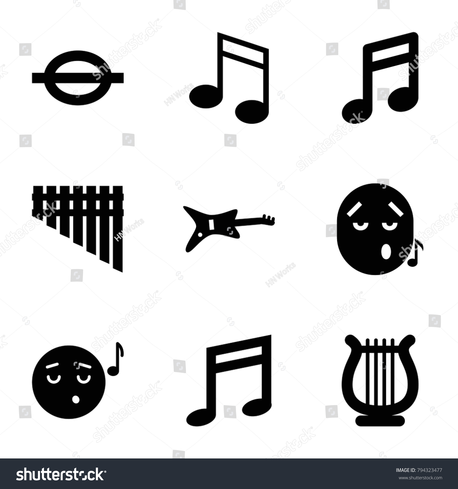 Melody Icons Set 9 Editable Filled Stock Vector 2018 794323477