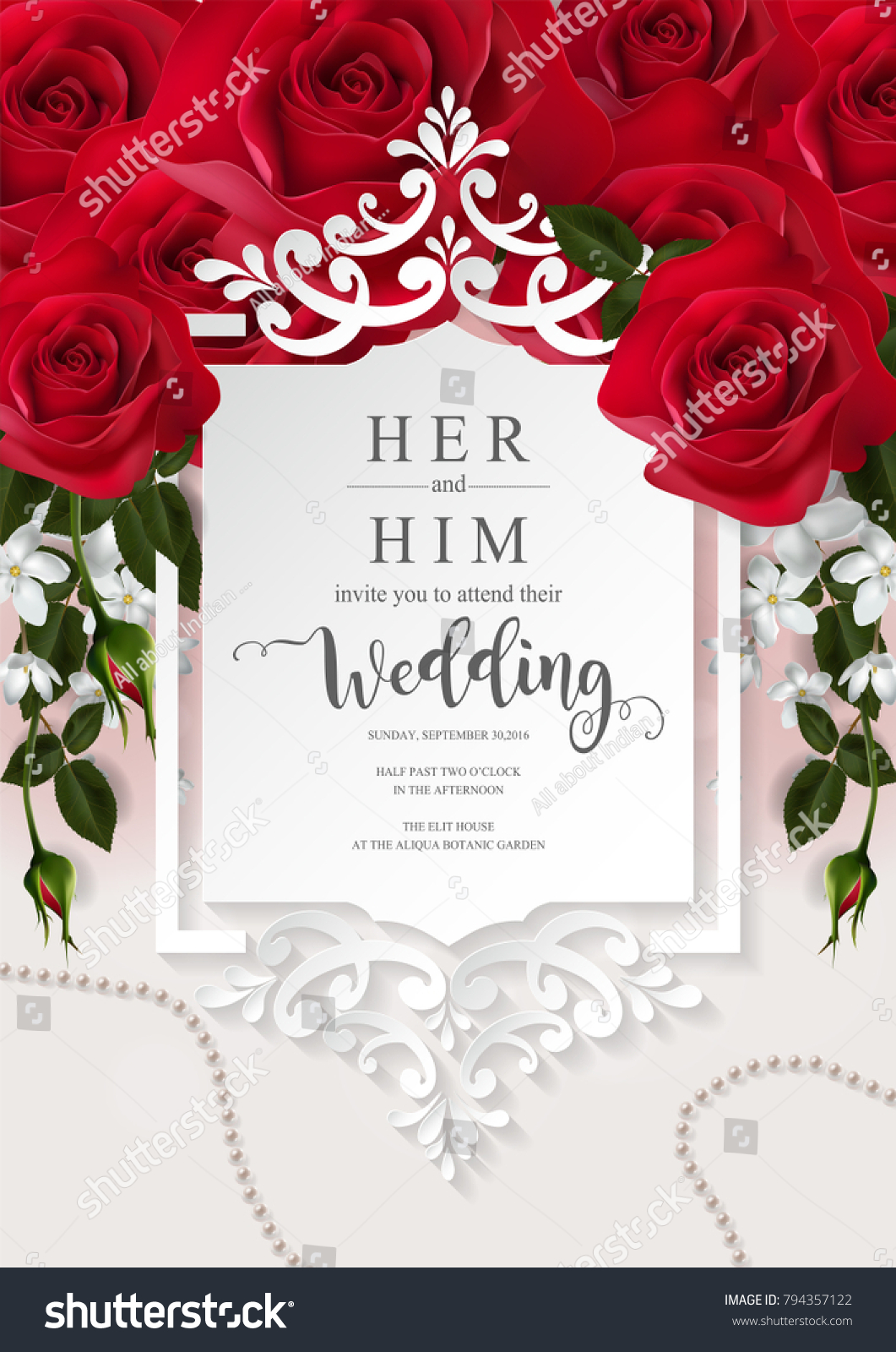 Wedding Invitation Card Templates Realistic Beautiful Stock Vector ...