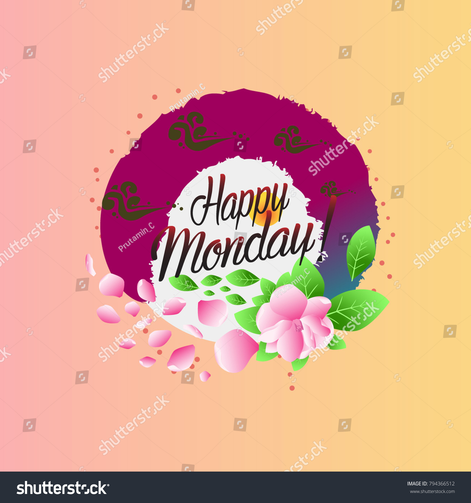 Happy Monday Beautiful Greeting Card Stock Vector Royalty Free