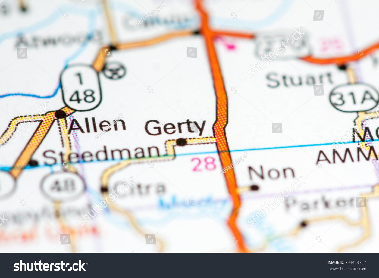 Gerty Oklahoma Usa On Map Stock Photo Edit Now 794423752