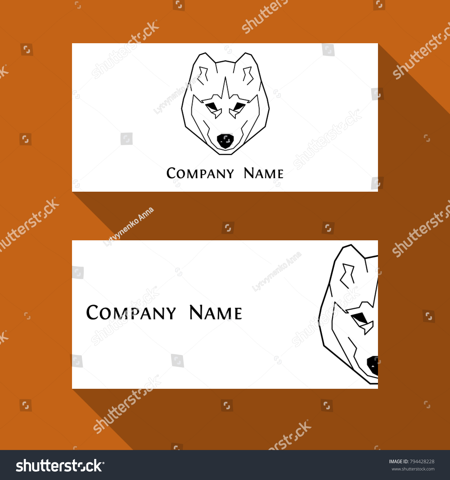 Husky Dog Business Card Geometric Modern Stock Vector HD (Royalty ...