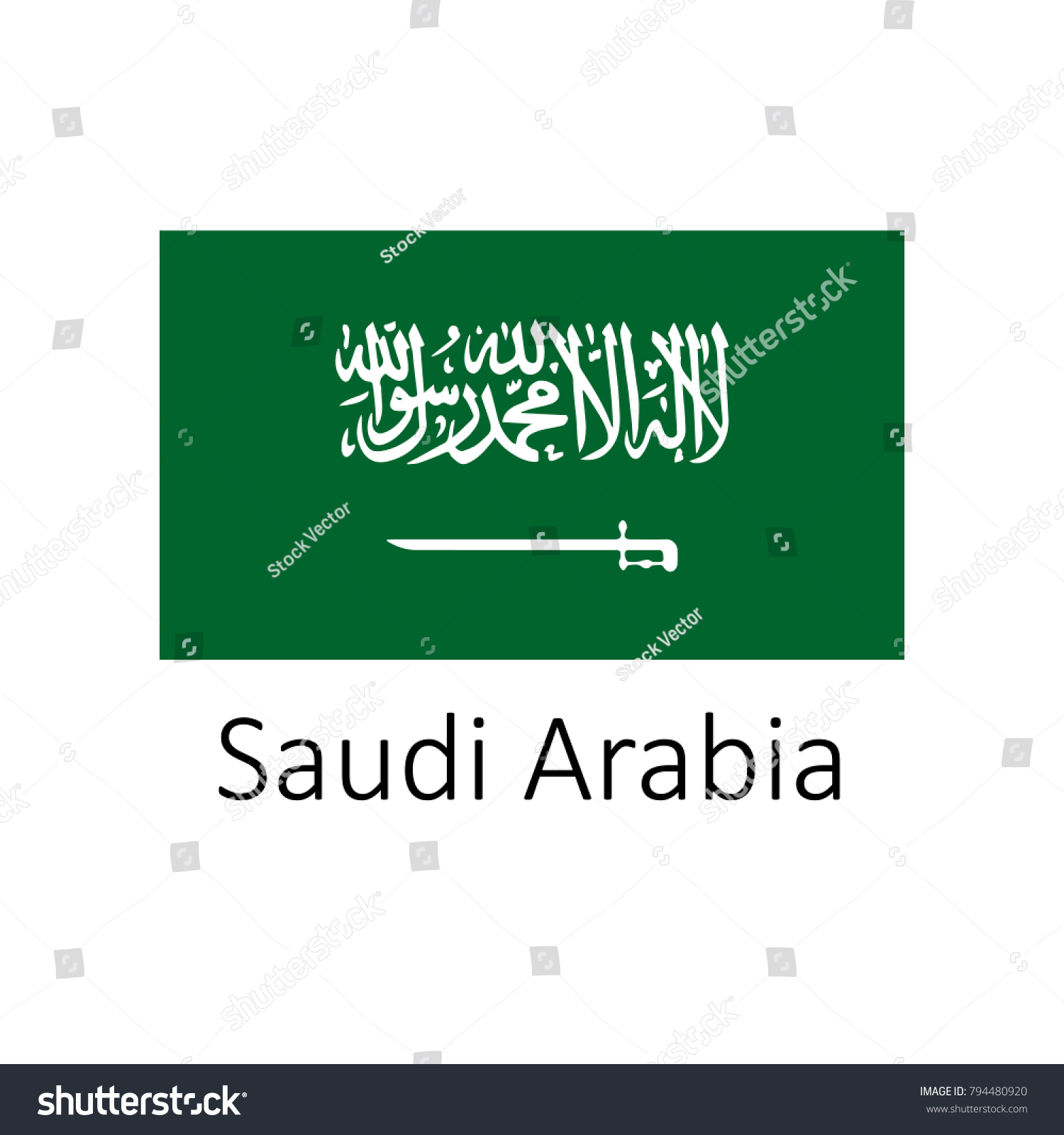 Flag Saudi Arabia Name Icon Official Stock Vector (Royalty Free ...