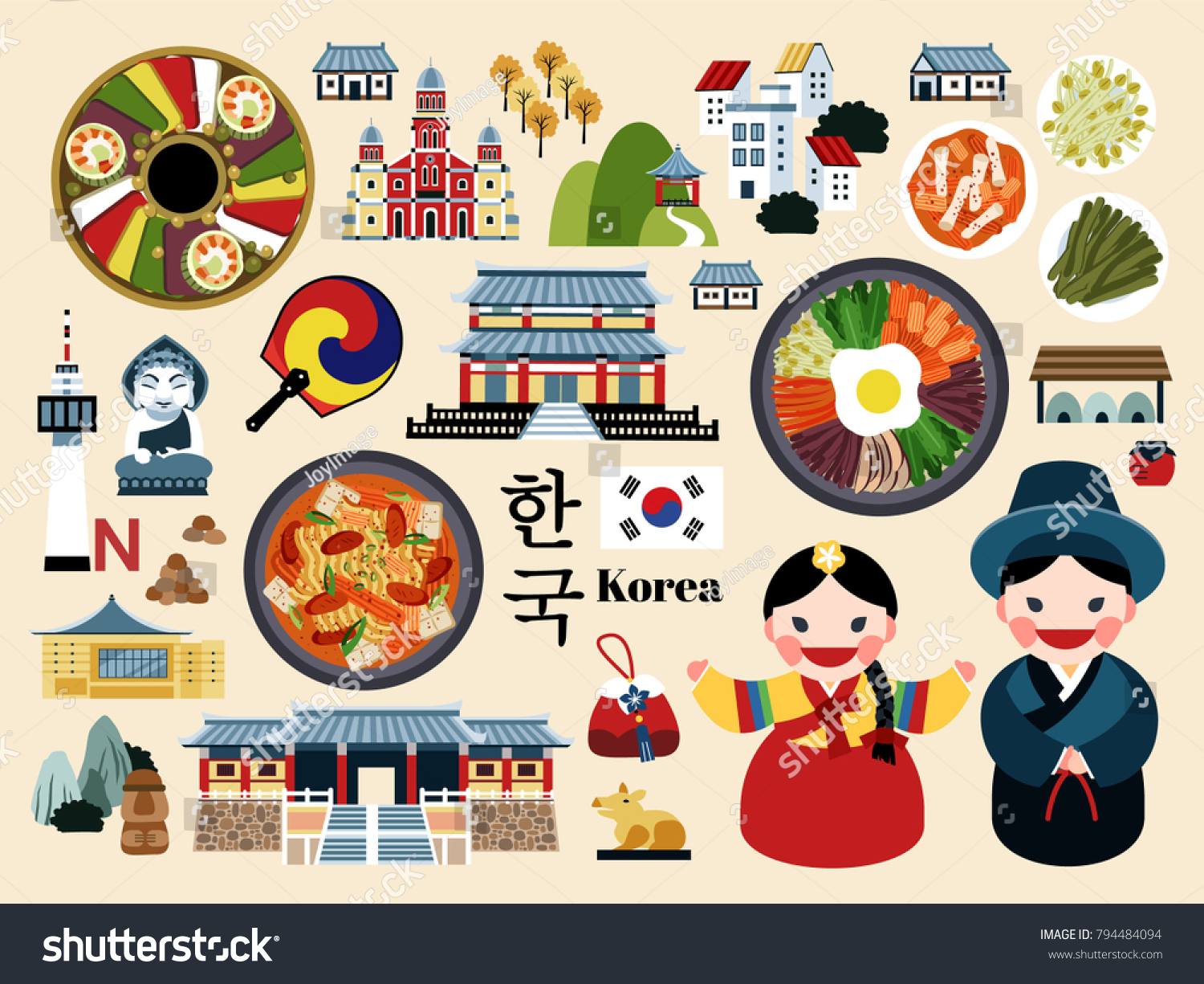 Lovely korea travel concept set korean stock vector 794484094 lovely korea travel concept set korean traditional culture symbol collection korea country name in biocorpaavc Image collections