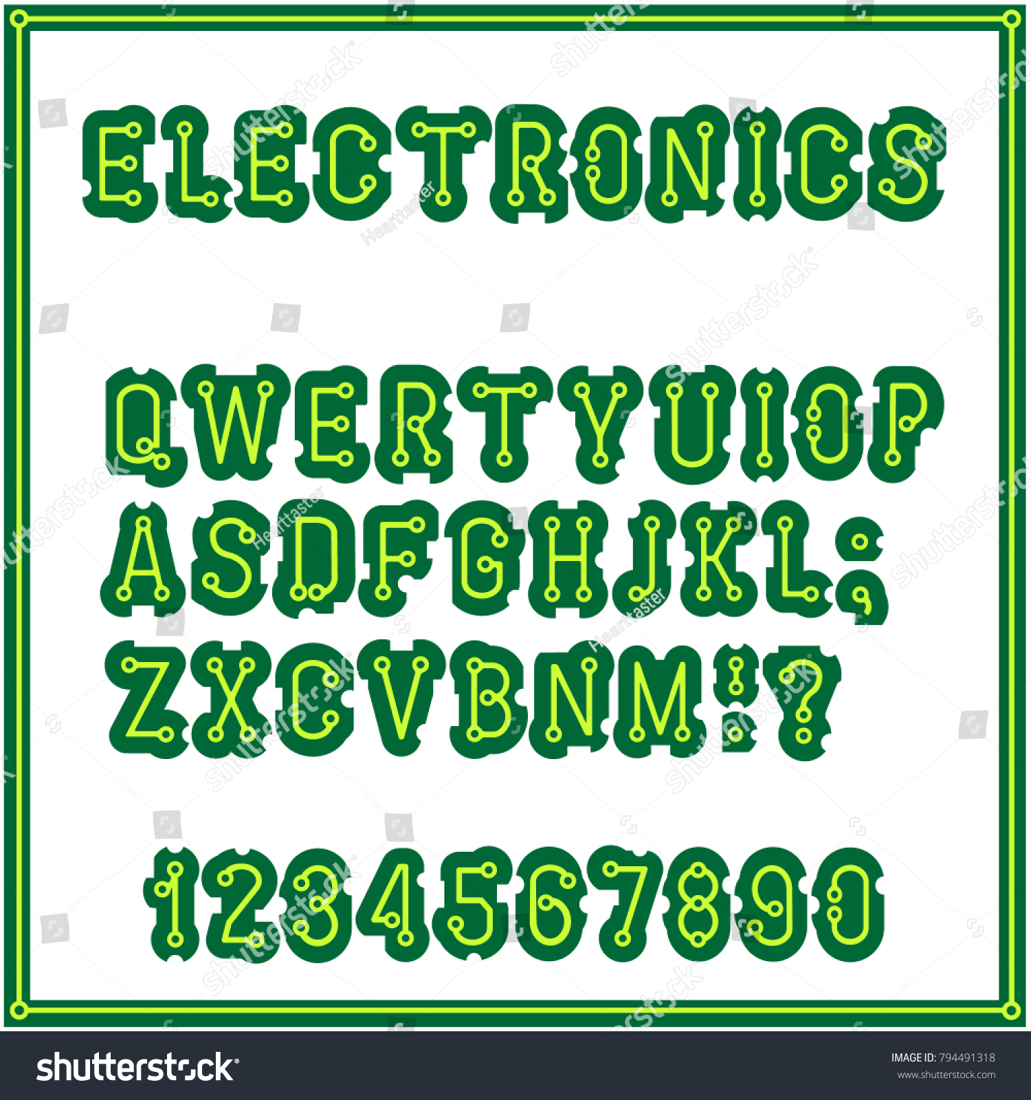 Set Letters Style Printed Circuit Board Stock Vector 794491318 ...