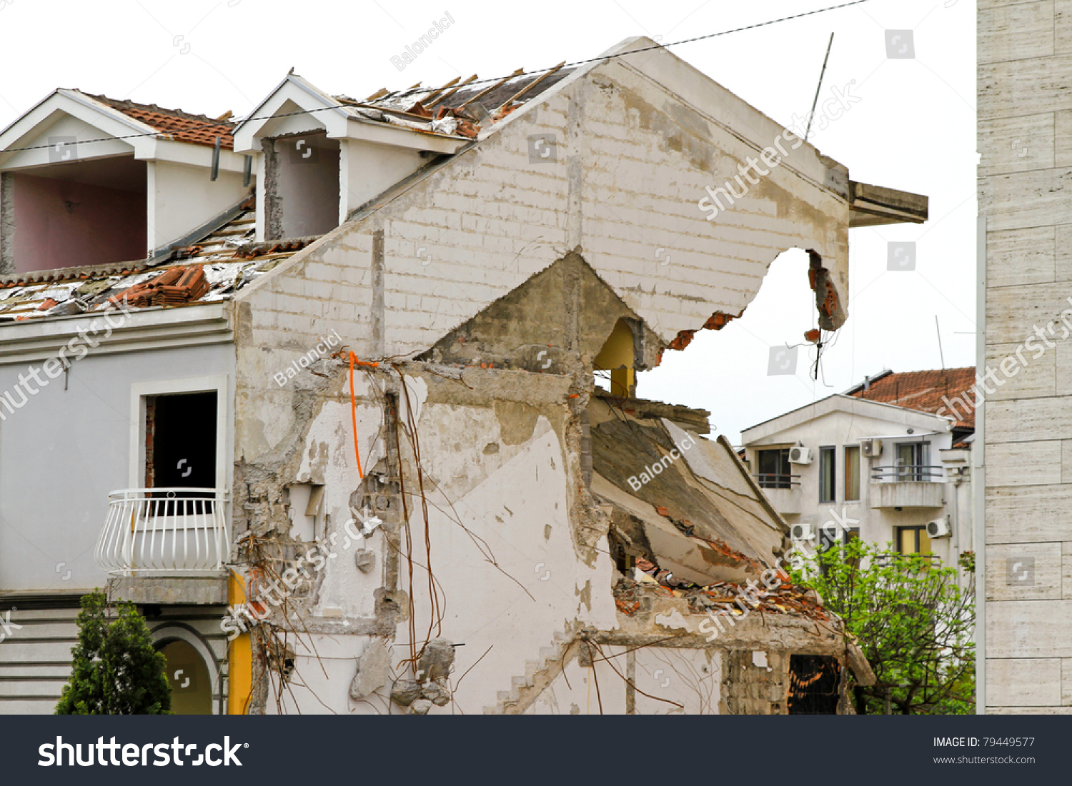 damaged house after strong earthquake natural stock photo 79449577 shutterstock. Black Bedroom Furniture Sets. Home Design Ideas
