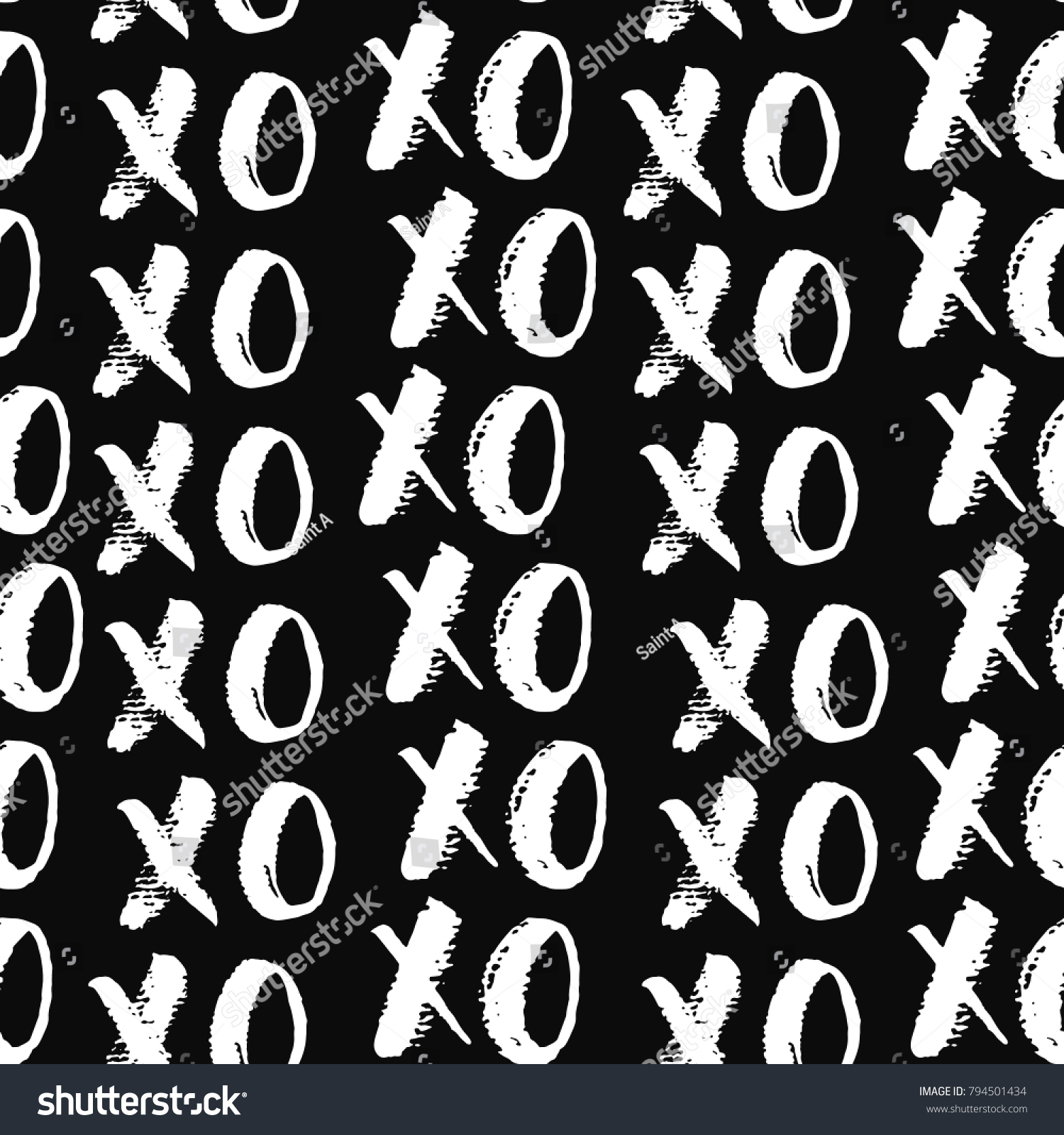 Xoxo Brush Lettering Signs Seamless Pattern Stock Vector Royalty