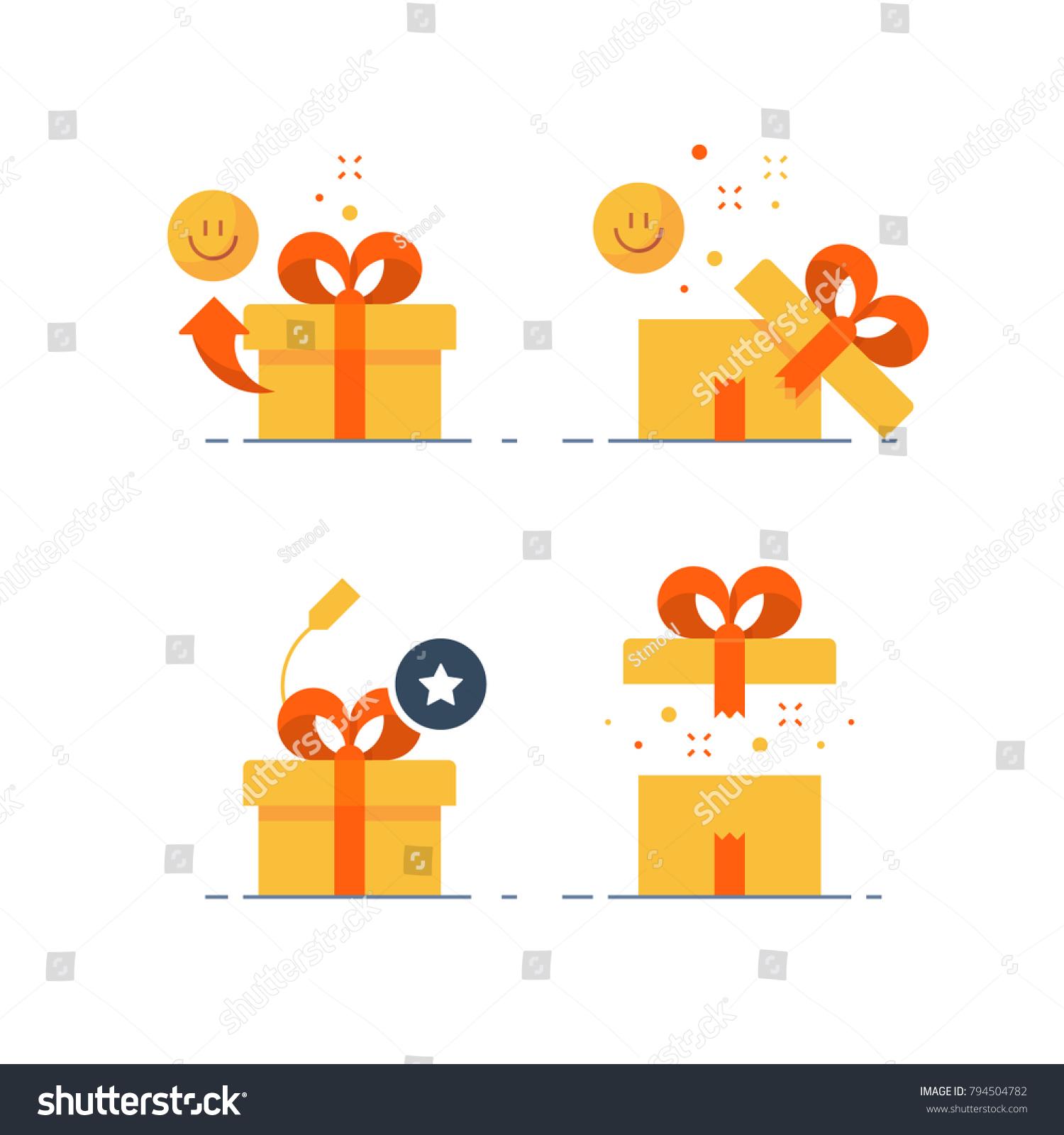 La Boite Jaune Prix image vectorielle de stock de ensemble de cadeaux surprenant