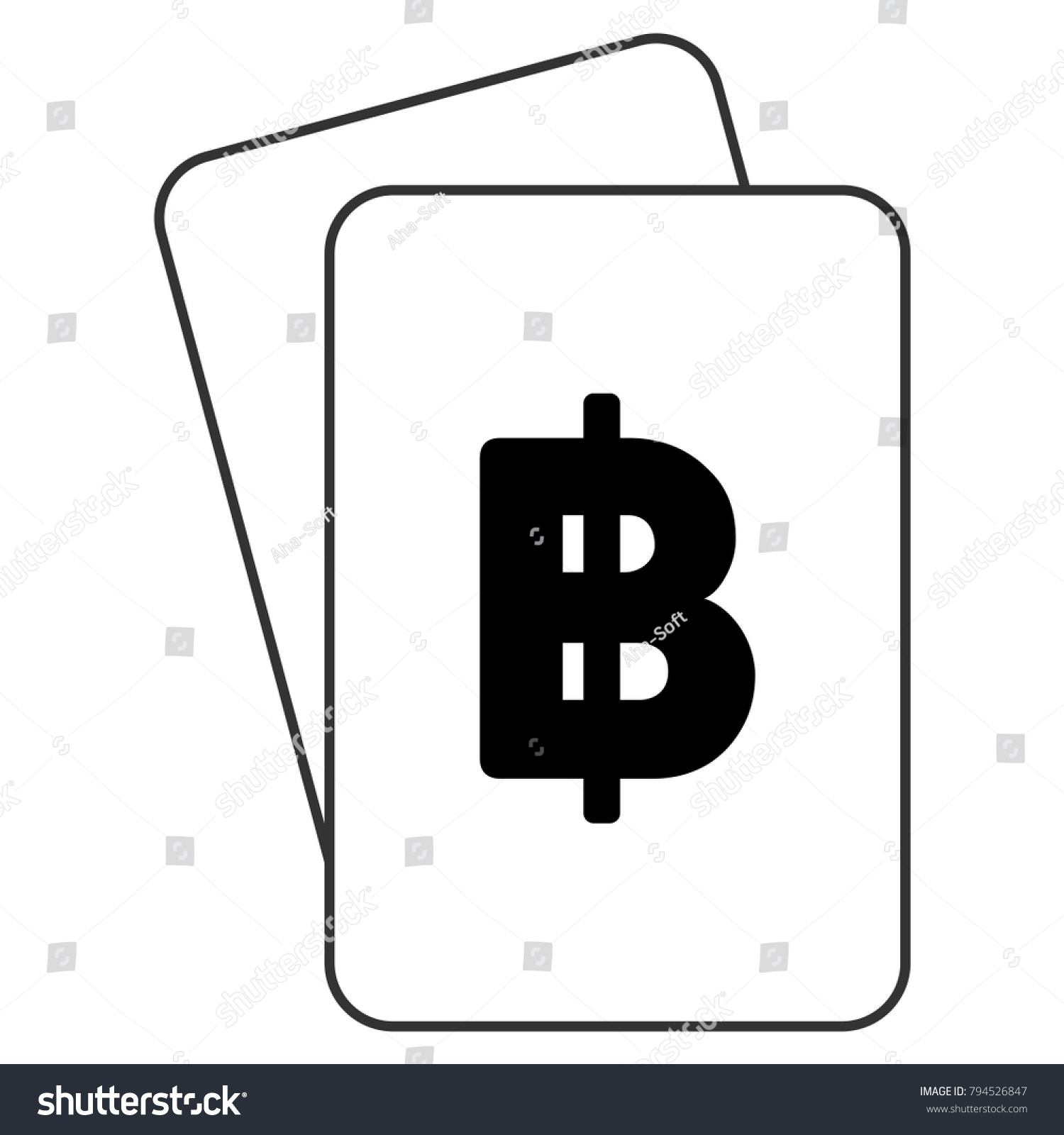 Thai Baht Playing Cards Pictograph Raster Stock Illustration