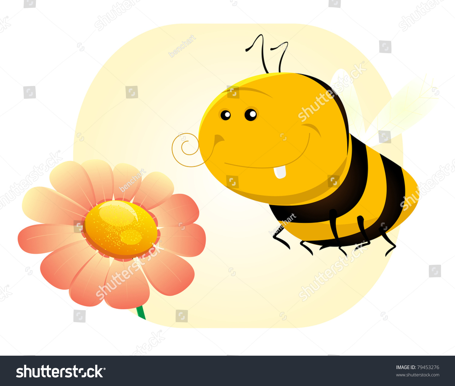 cartoon funny bee flower illustration funny stock illustration