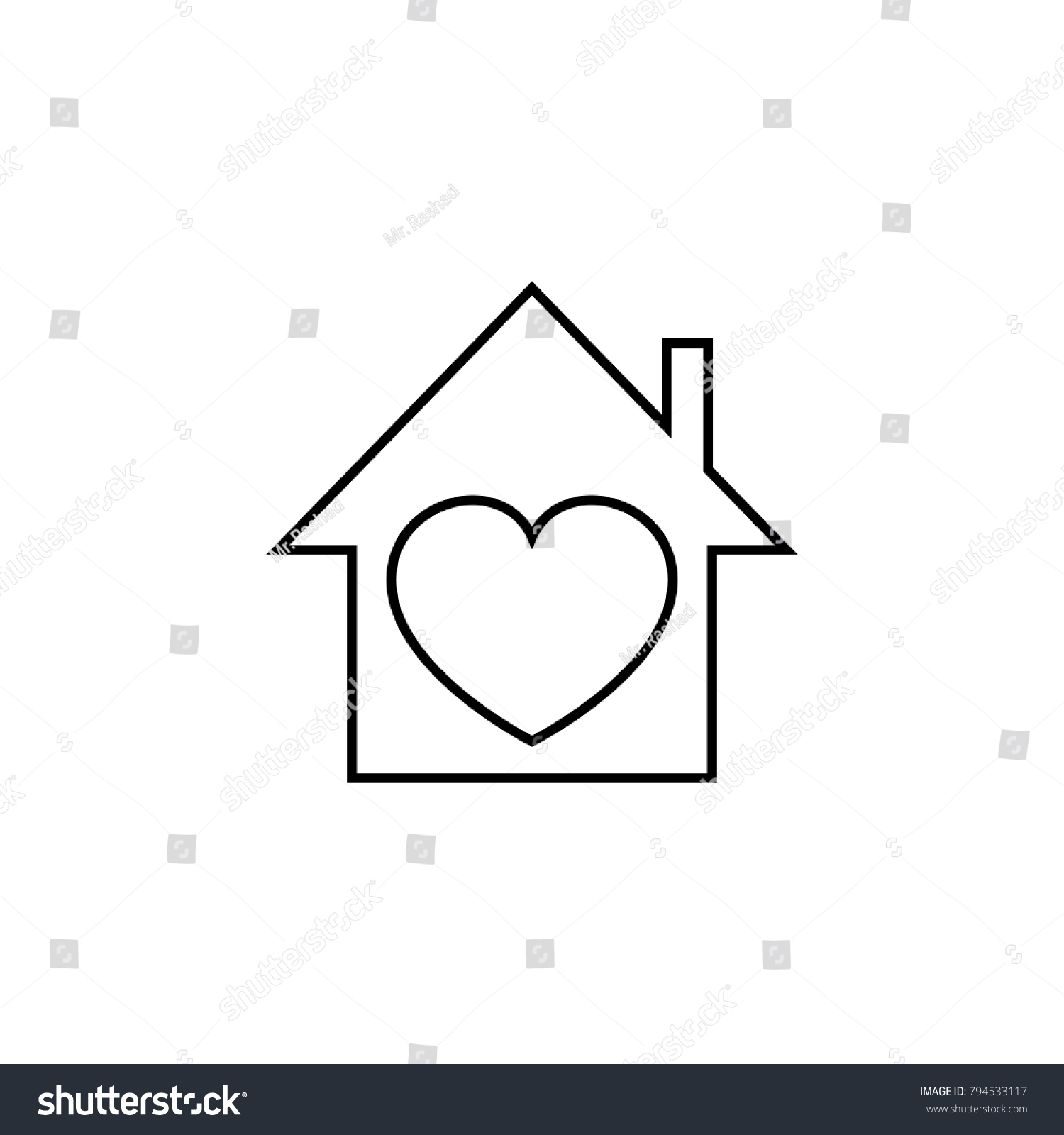 Sensational House Heart Icon Love Valentines Day Stock Vector Royalty Home Remodeling Inspirations Genioncuboardxyz