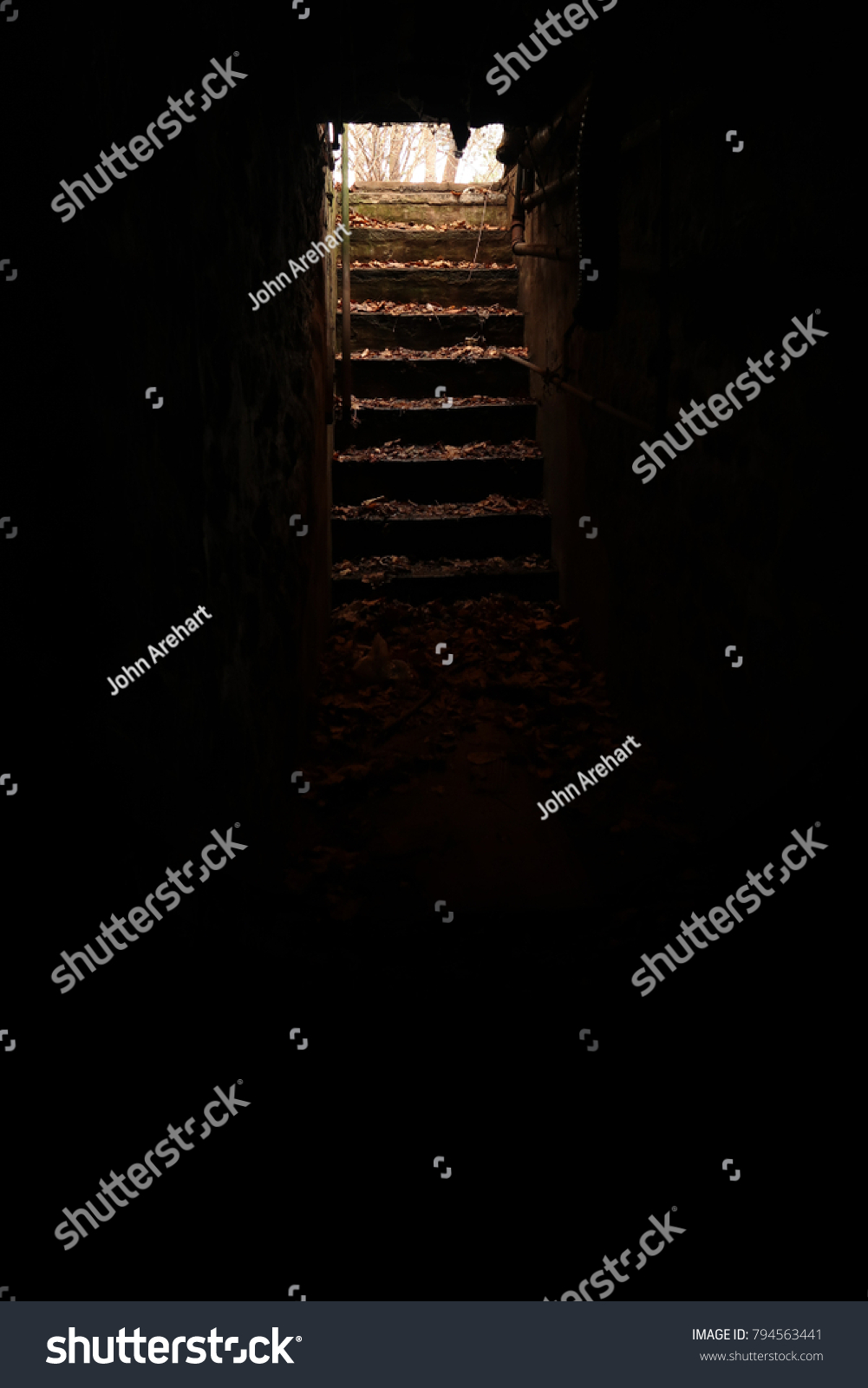 dark basement stairs. Mostly Dark, Spooky Basement. Light Coming From The Stairs. Dark Basement Stairs