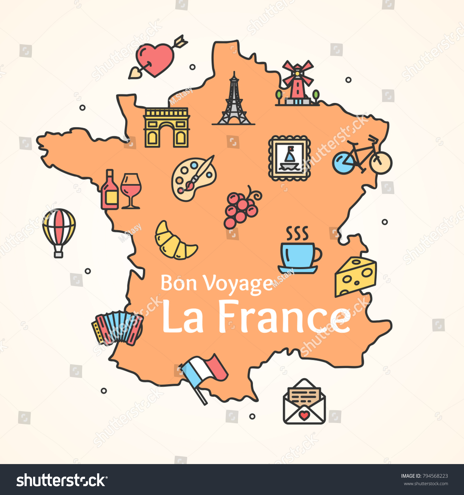 Stylized map of france things that. | stock vector | colourbox.