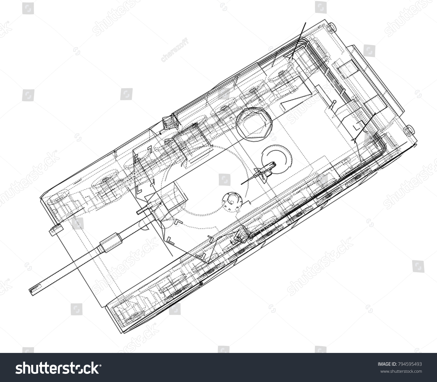 Blueprint realistic tank vector eps10 format stock vector 794595493 blueprint of realistic tank vector eps10 format rendering of 3d malvernweather Image collections