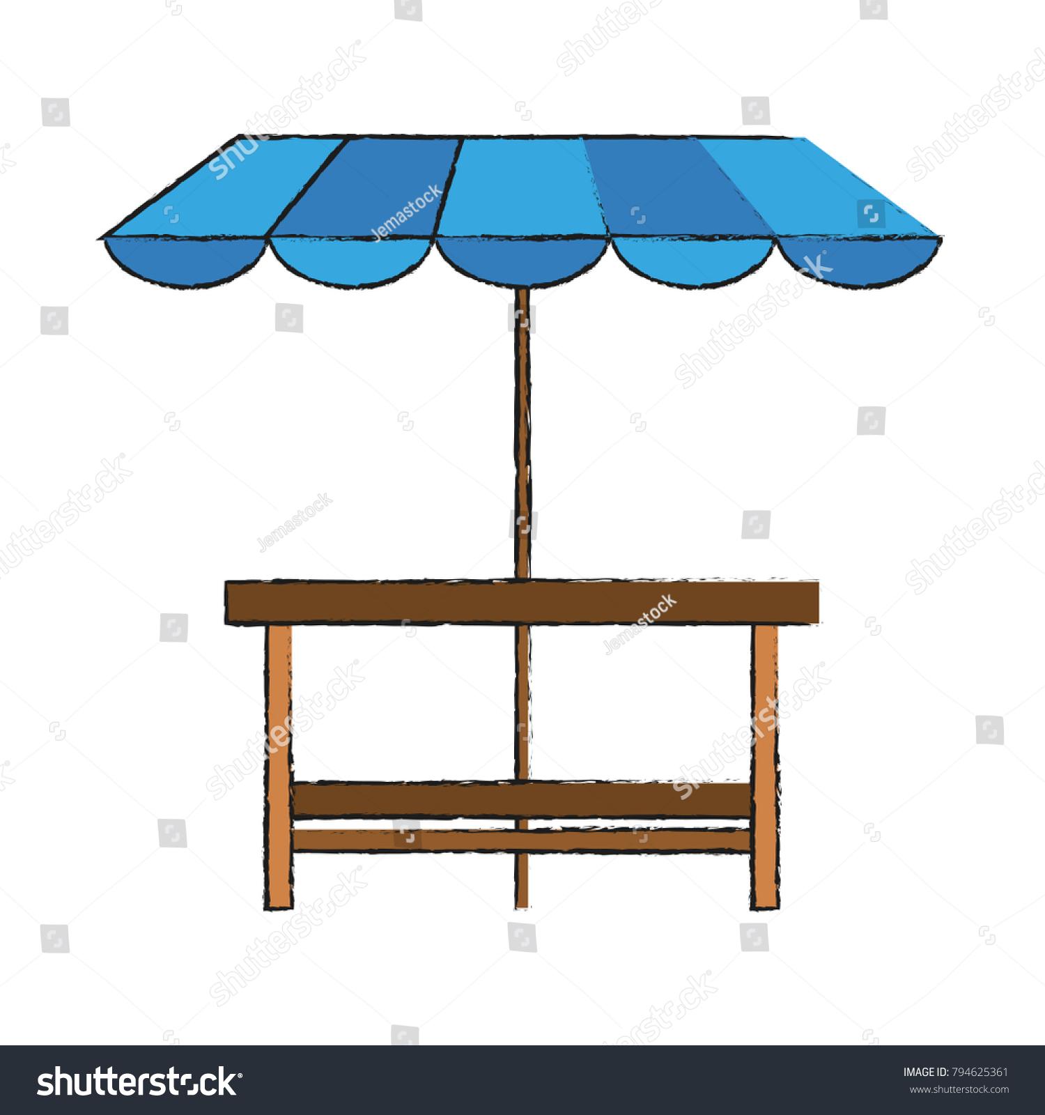 Wooden Table Patio Umbrella Stock Vector Shutterstock
