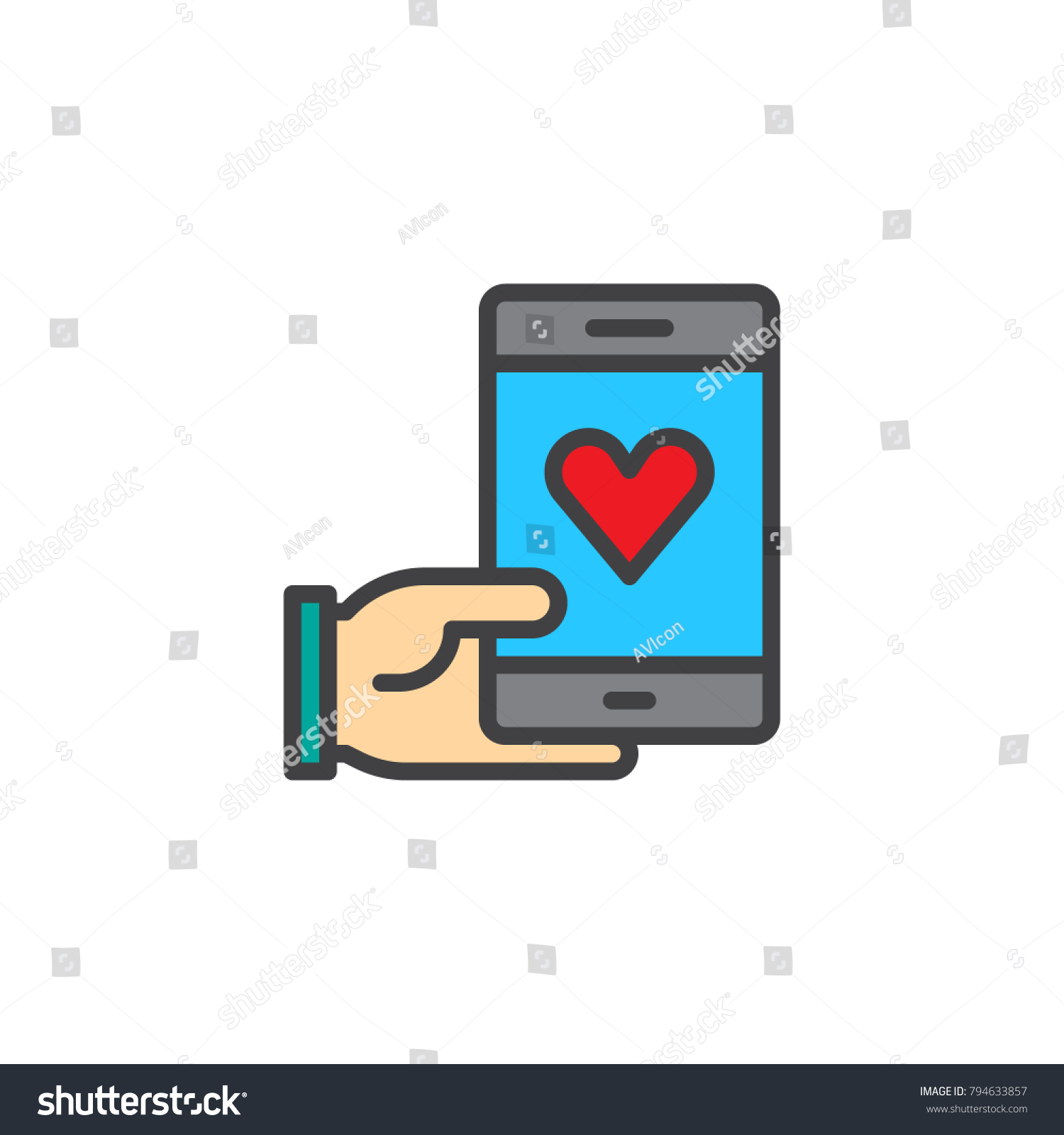 Hand Holding Phone Heart Filled Outline Stock Vector Royalty Free