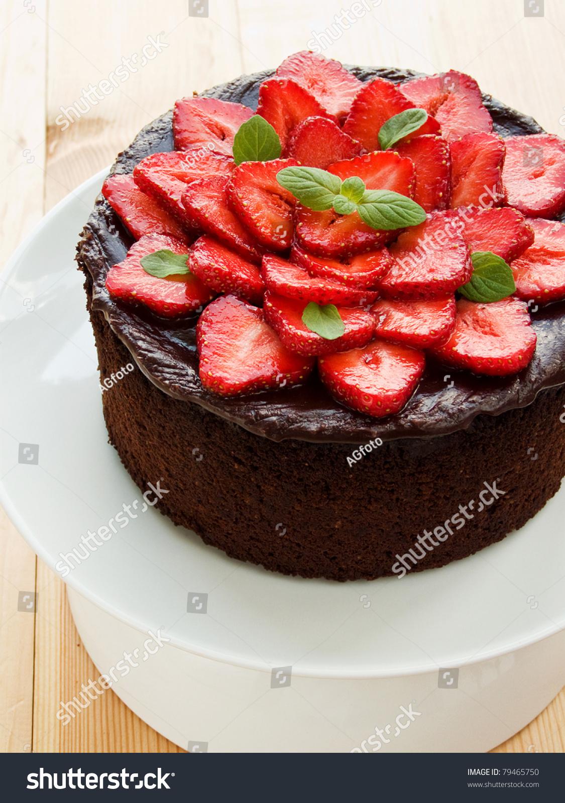 Homemade Chocolate Cake Strawberry Mint Shallow Stock Photo ...