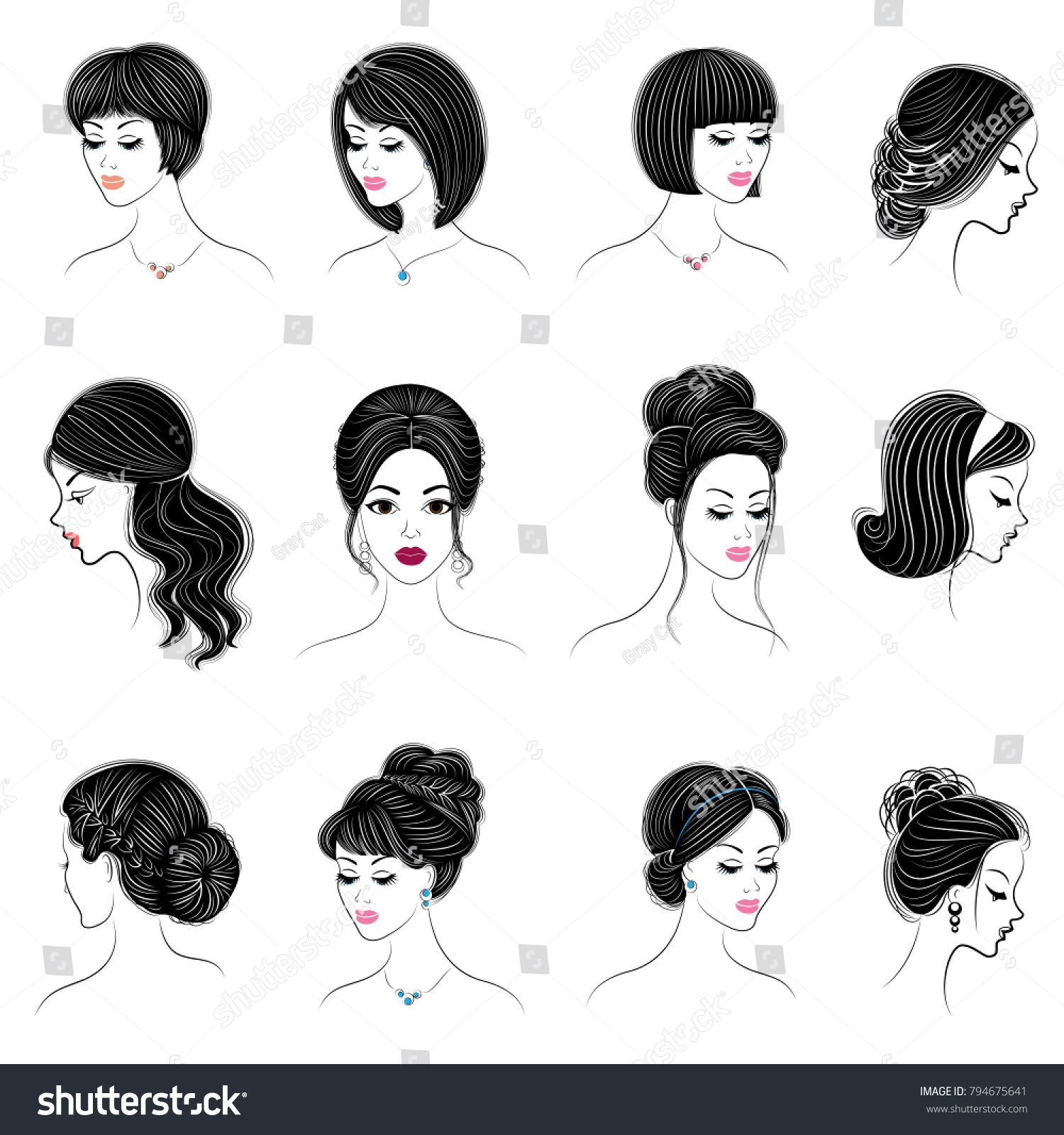 Collection Silhouettes Head Lovely Ladies Girls Stock Vector ...