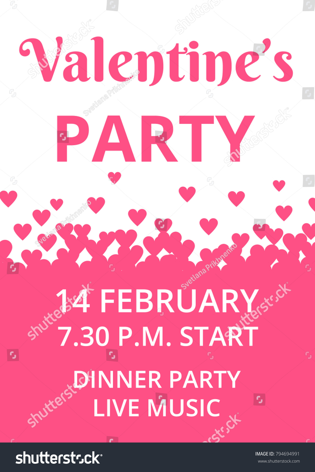 Valentines Day Party Invitation Card Hearts Stock Vector 794694991 ...