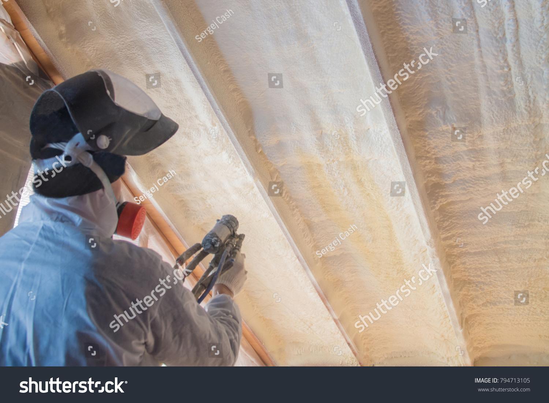 Polyurea Spraying Warming Foam Coating Roof Stock Photo