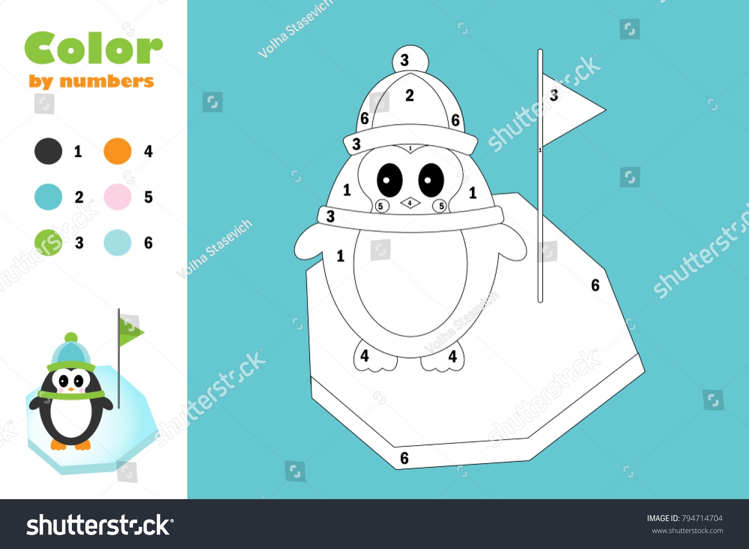Penguin Cartoon Style Color By Number Stock Vector (Royalty Free ...