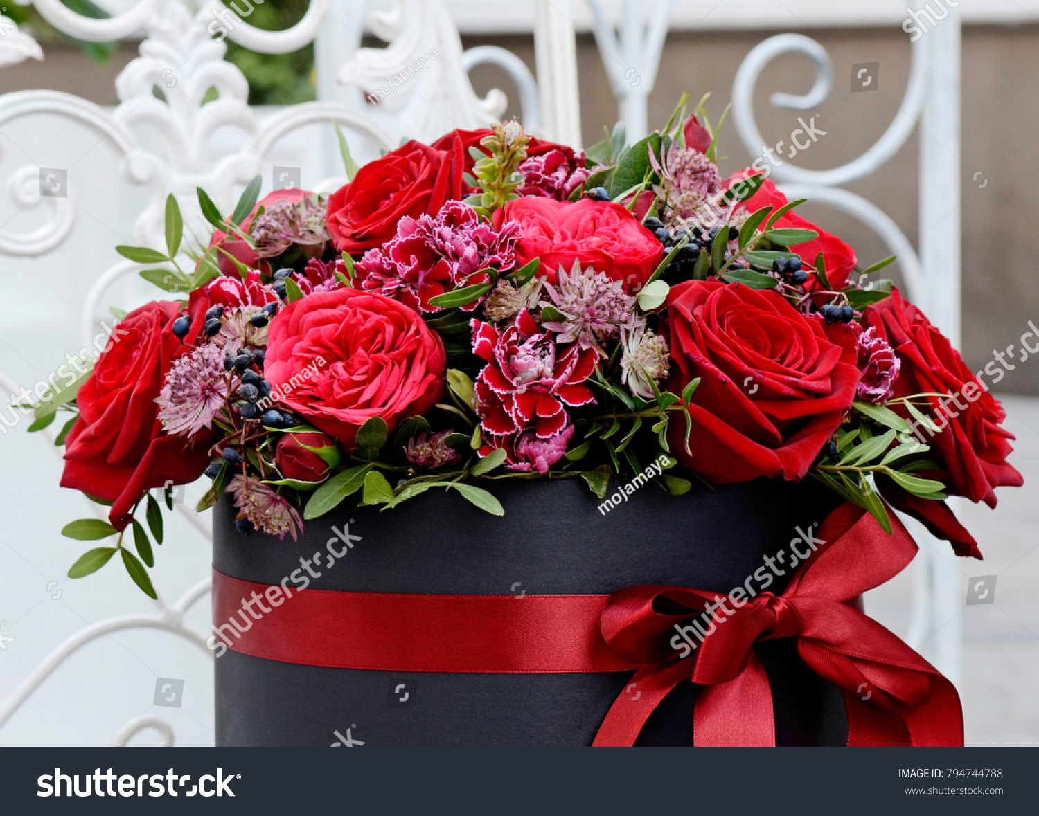 Flower Bouquet Made Scarlet Roses Dark Stock Photo Edit Now