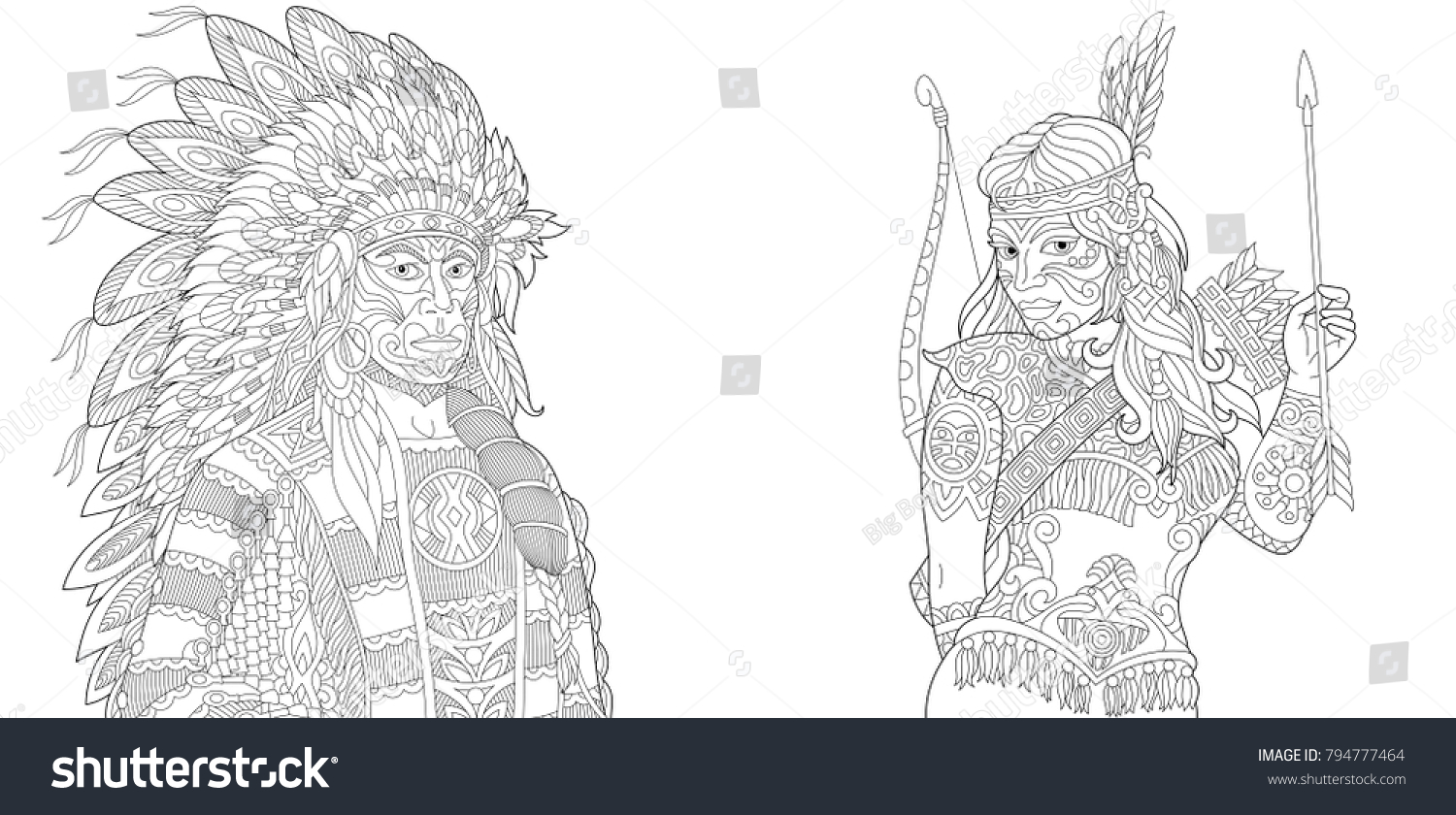 coloring page adult coloring book native american indian chief and apache woman navajo