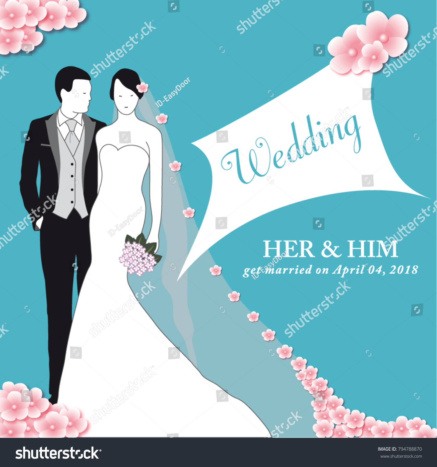Invitation Card Spring Wedding Married Couple Stock Vector 794788870 ...