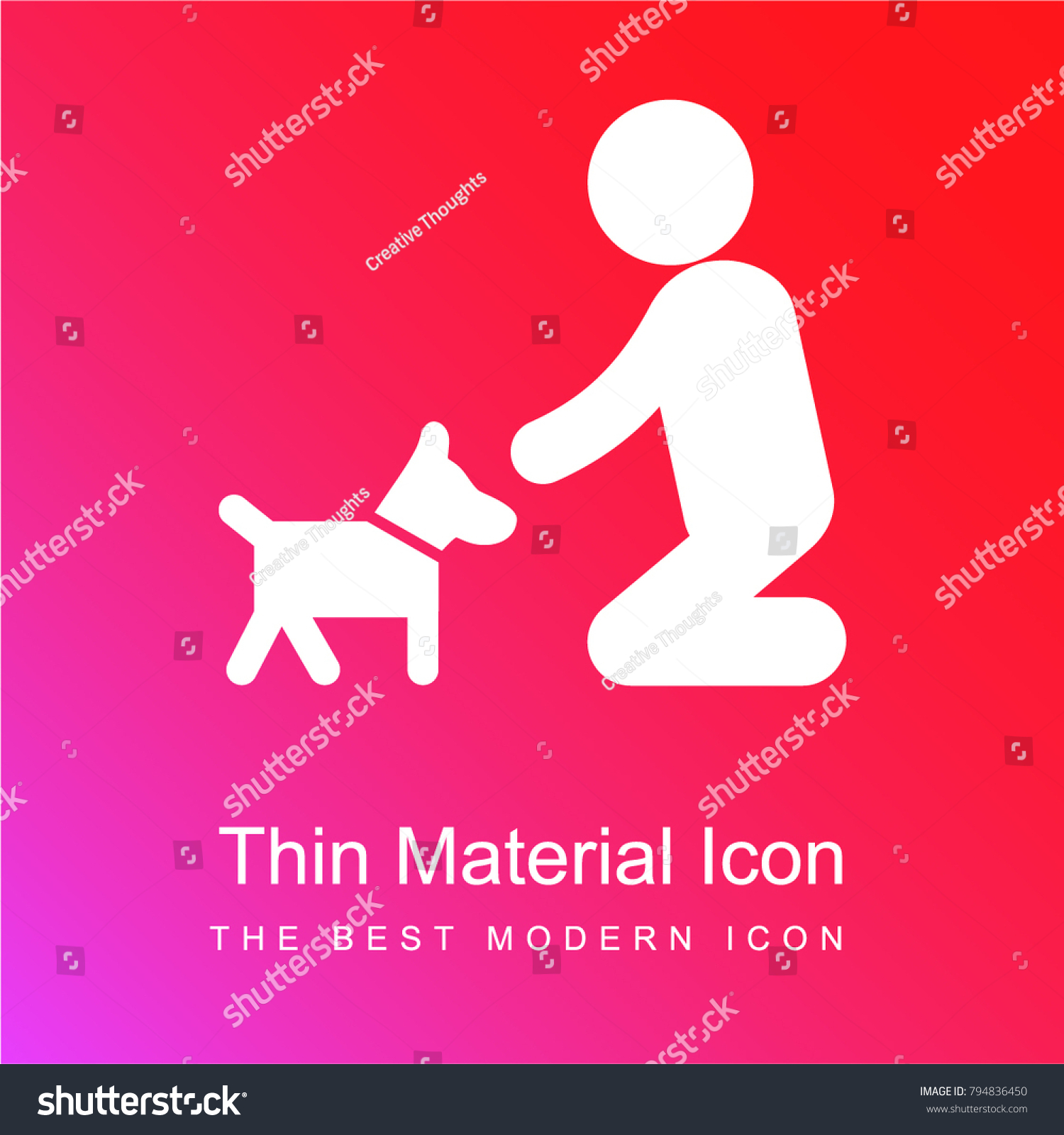 Man on his knees cuddle his stock vector 794836450 shutterstock man on his knees to cuddle his dog red and pink gradient material white icon minimal biocorpaavc Gallery
