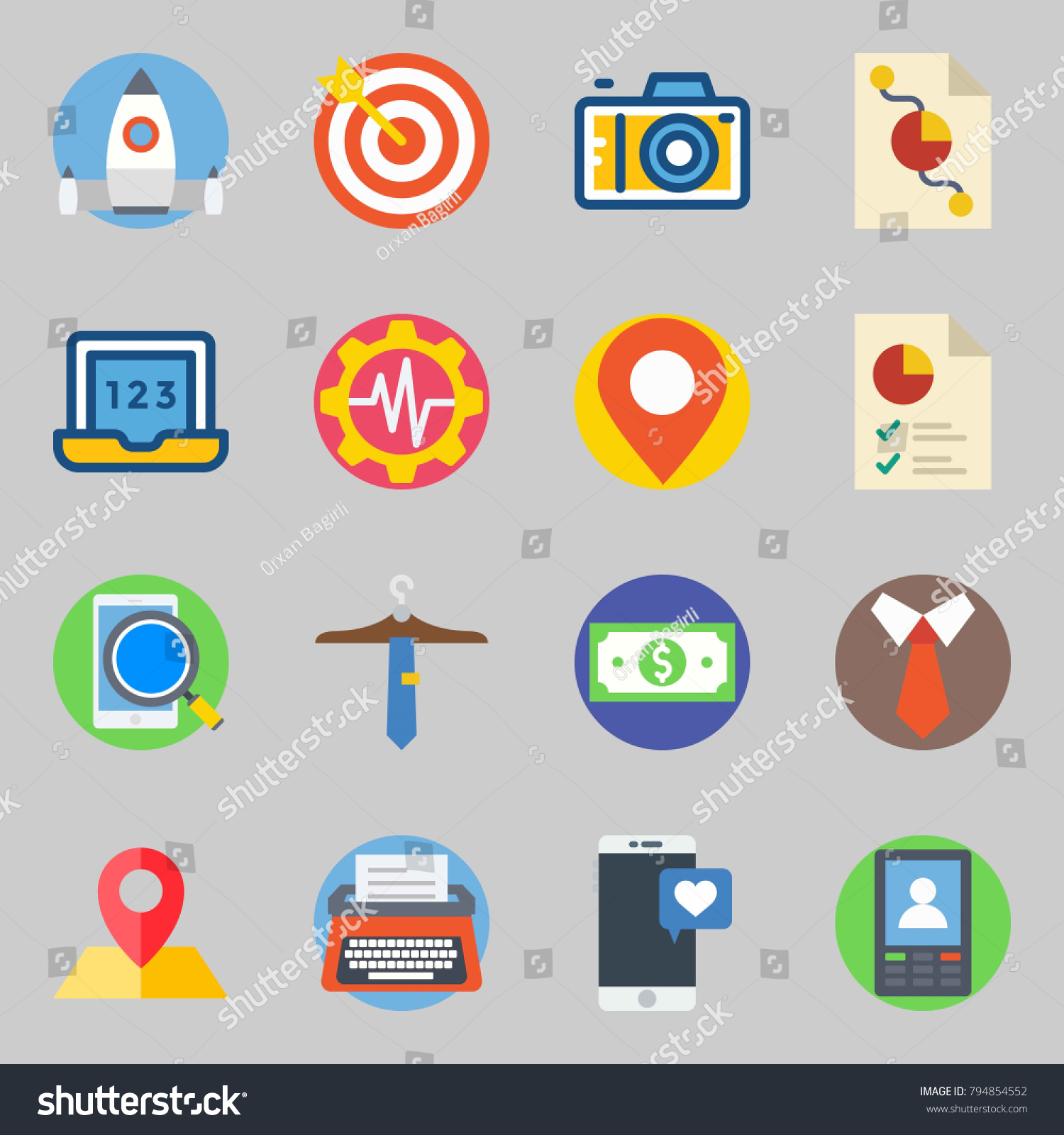 Icons set about digital marketing pie stock vector 794854552 icons set about digital marketing with pie chart target and laptop nvjuhfo Image collections