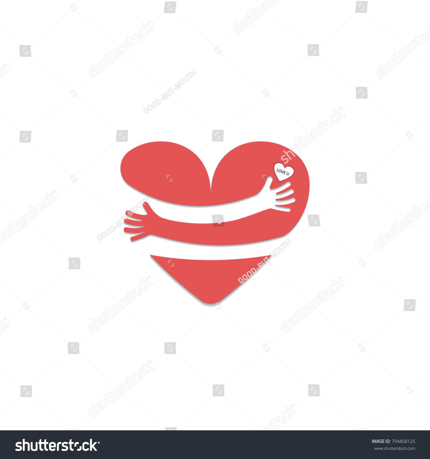 Red heart shape hand embrace yourself stock vector 794858125 red heart shape with hand embraceg yourself logolove yourself logolove buycottarizona