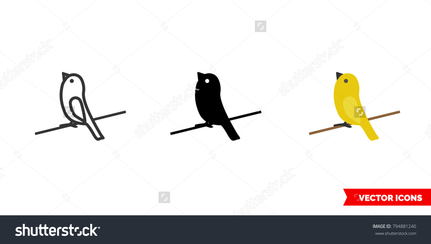 Canary Icon 3 Types Color Black Stock Vector Royalty Free