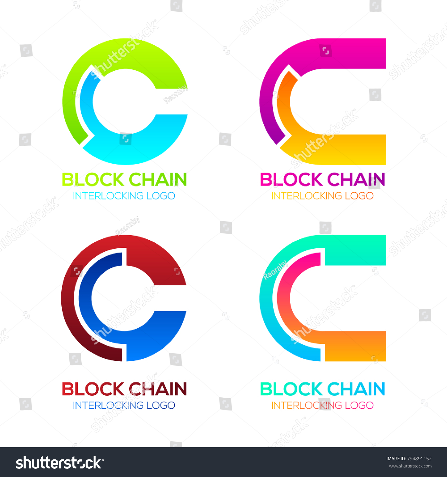 Letter C Logos Colorful Shape Blockchain Stock Vector