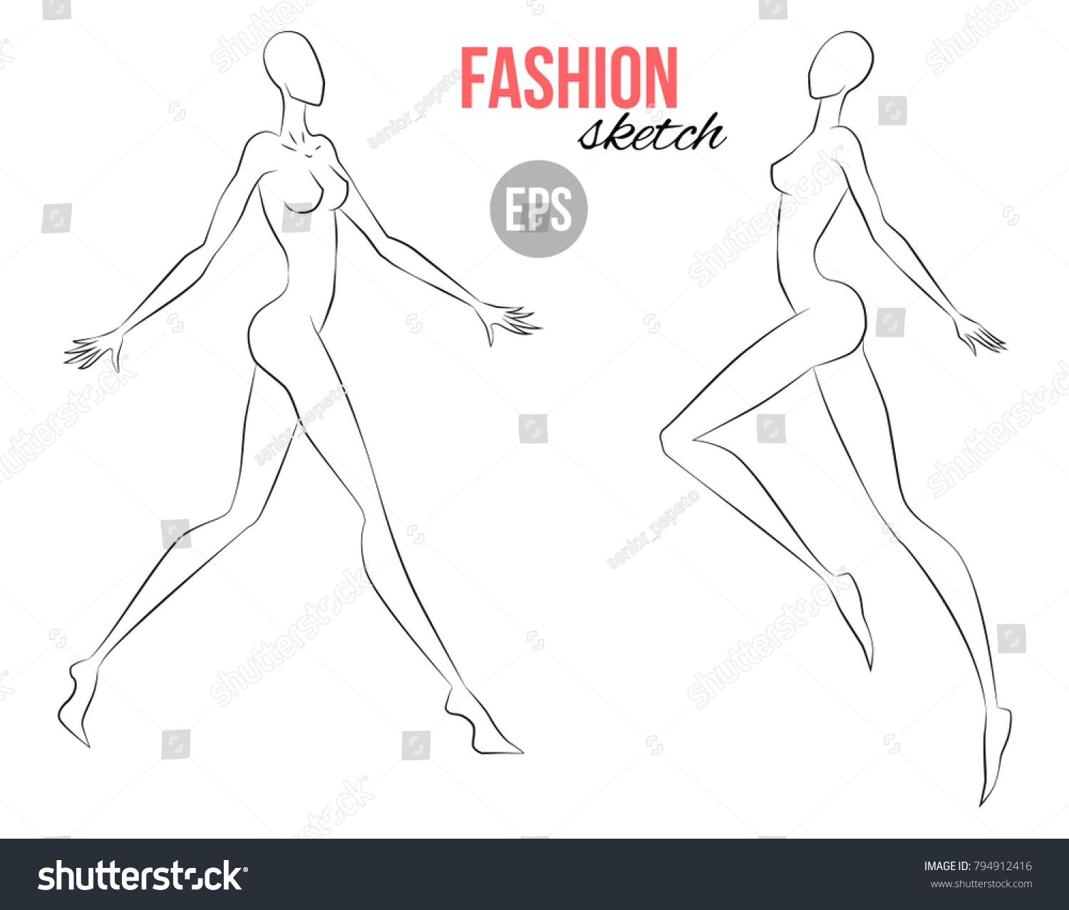 Womens Figure Sketch Different Poses Template Stock Vector Royalty