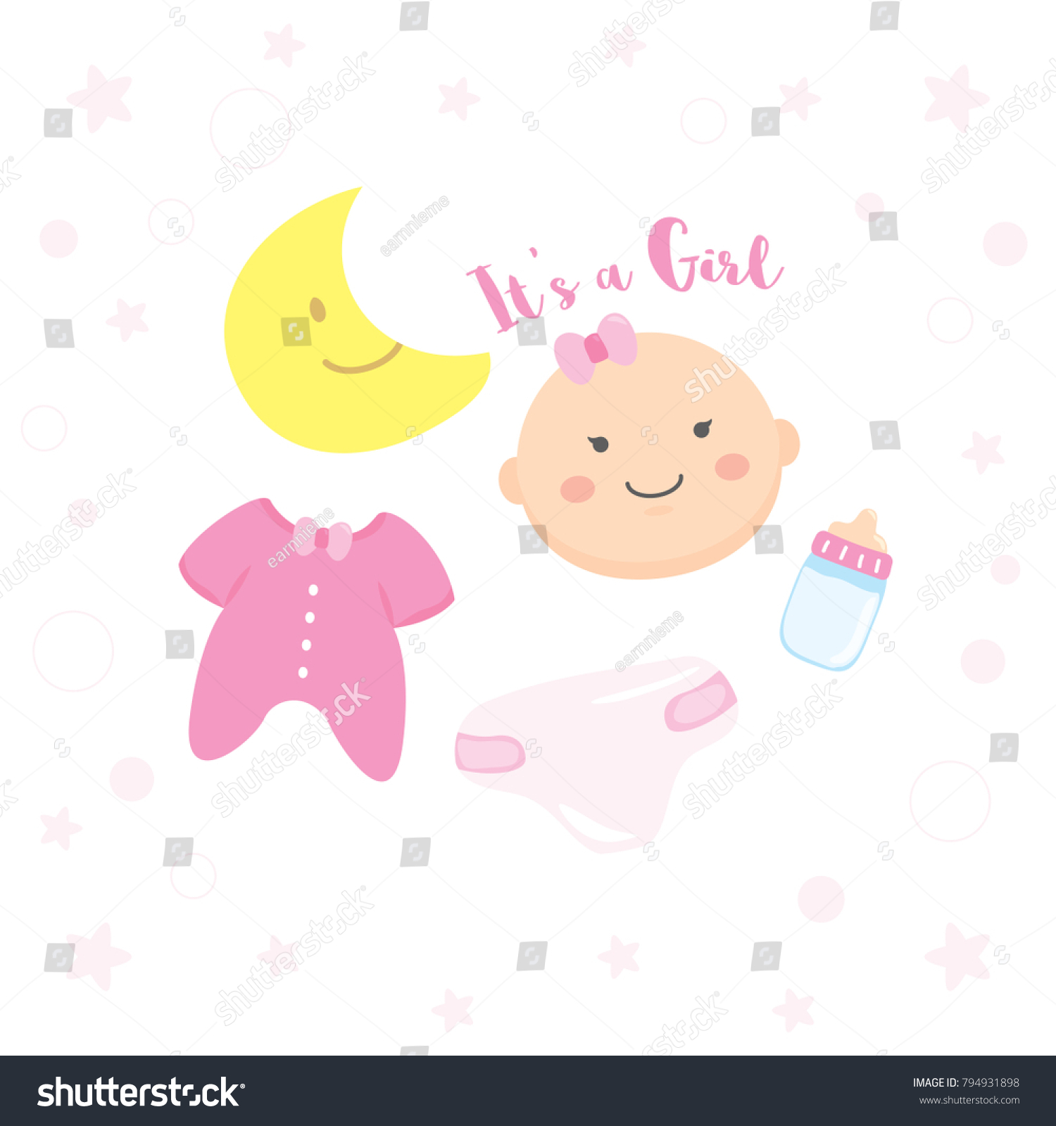 Baby Girl Shower Happy Birthday New Stock Vector Royalty Free
