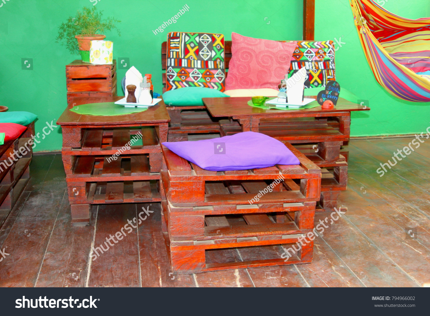 recycled wooden furniture. Colorful African Interior, Recycled Wood Pallet Furniture And Hammock Wooden